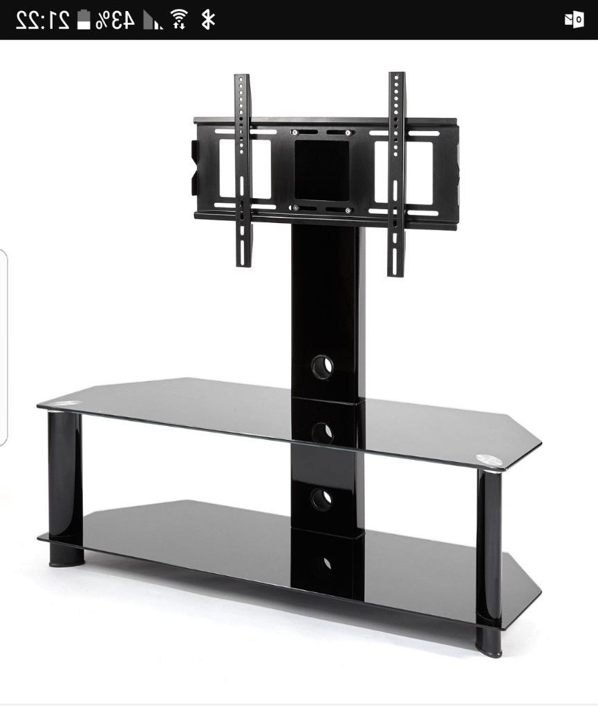 Tv Stands With Bracket Within Most Popular Black Glass Tv Stand With Bracket Mount (View 14 of 20)
