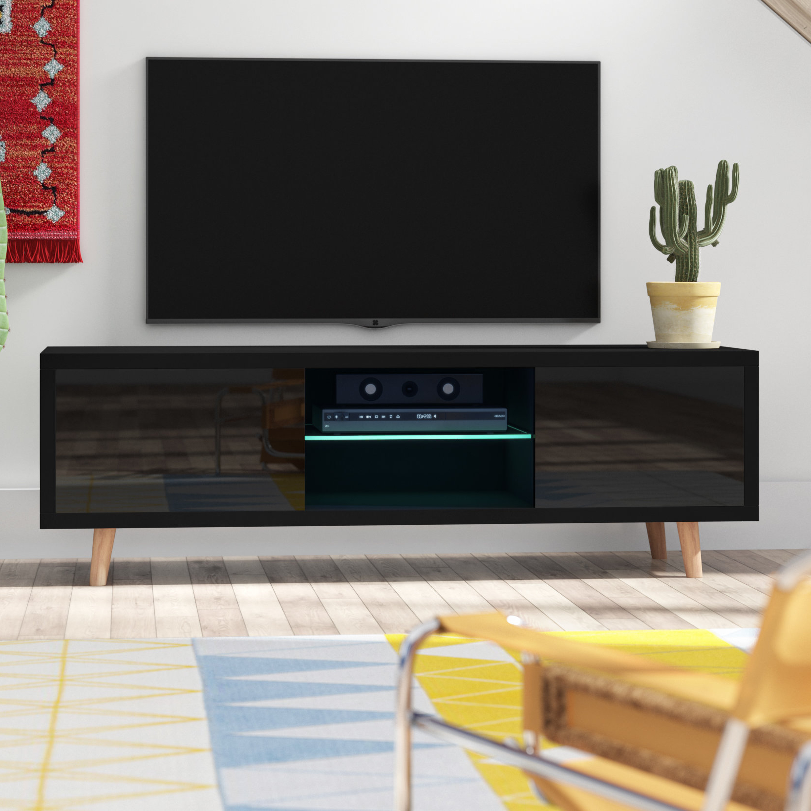 """Tv Stands With Led Lights Inside Current Langley Street Desert Palms Tv Stand For Tvs Up To 55"""" With Led (View 7 of 20)"""