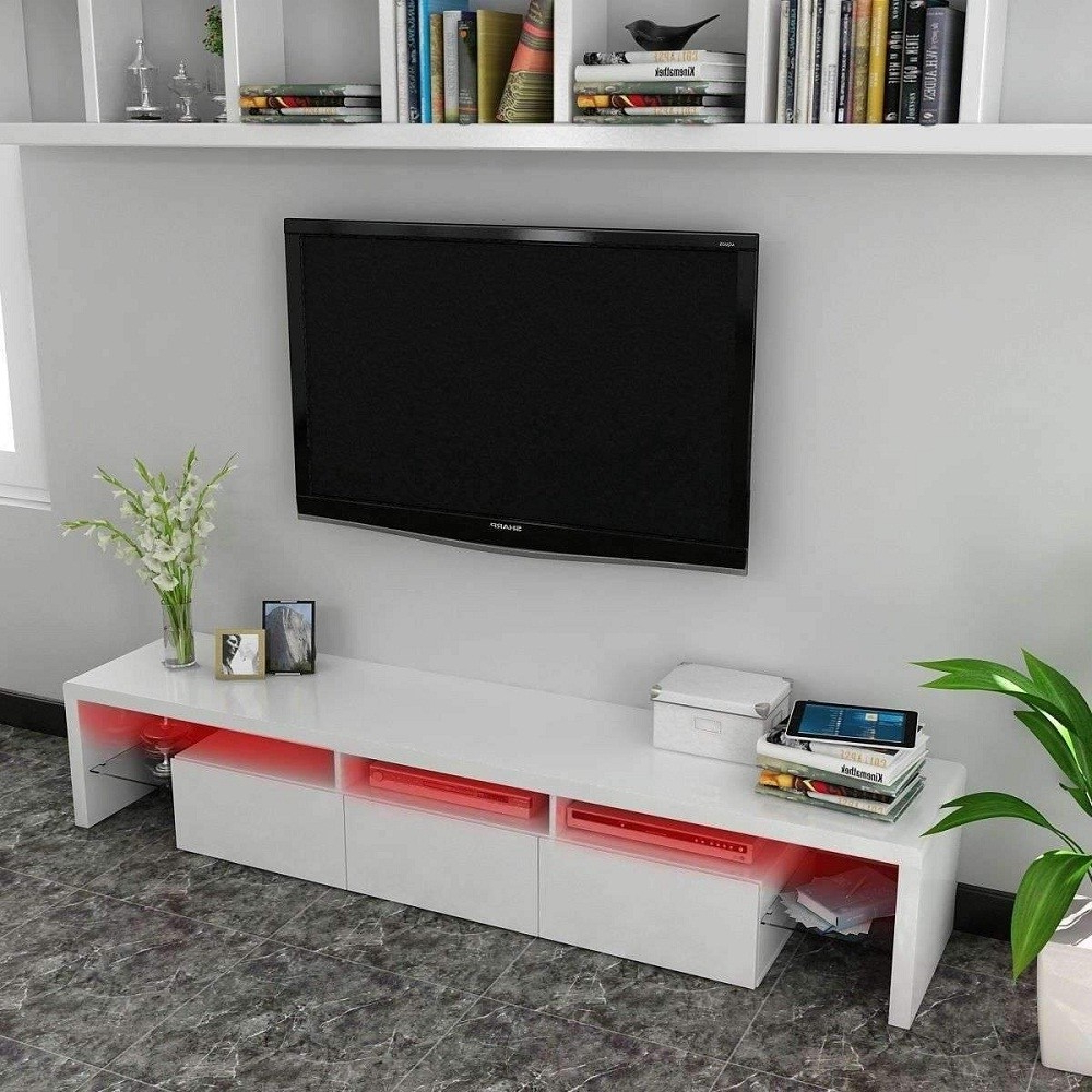 Tv Stands With Led Lights Pertaining To Well Known Terika Glossy Mdf Tv Stand With Colour Change Led Lights (View 13 of 20)