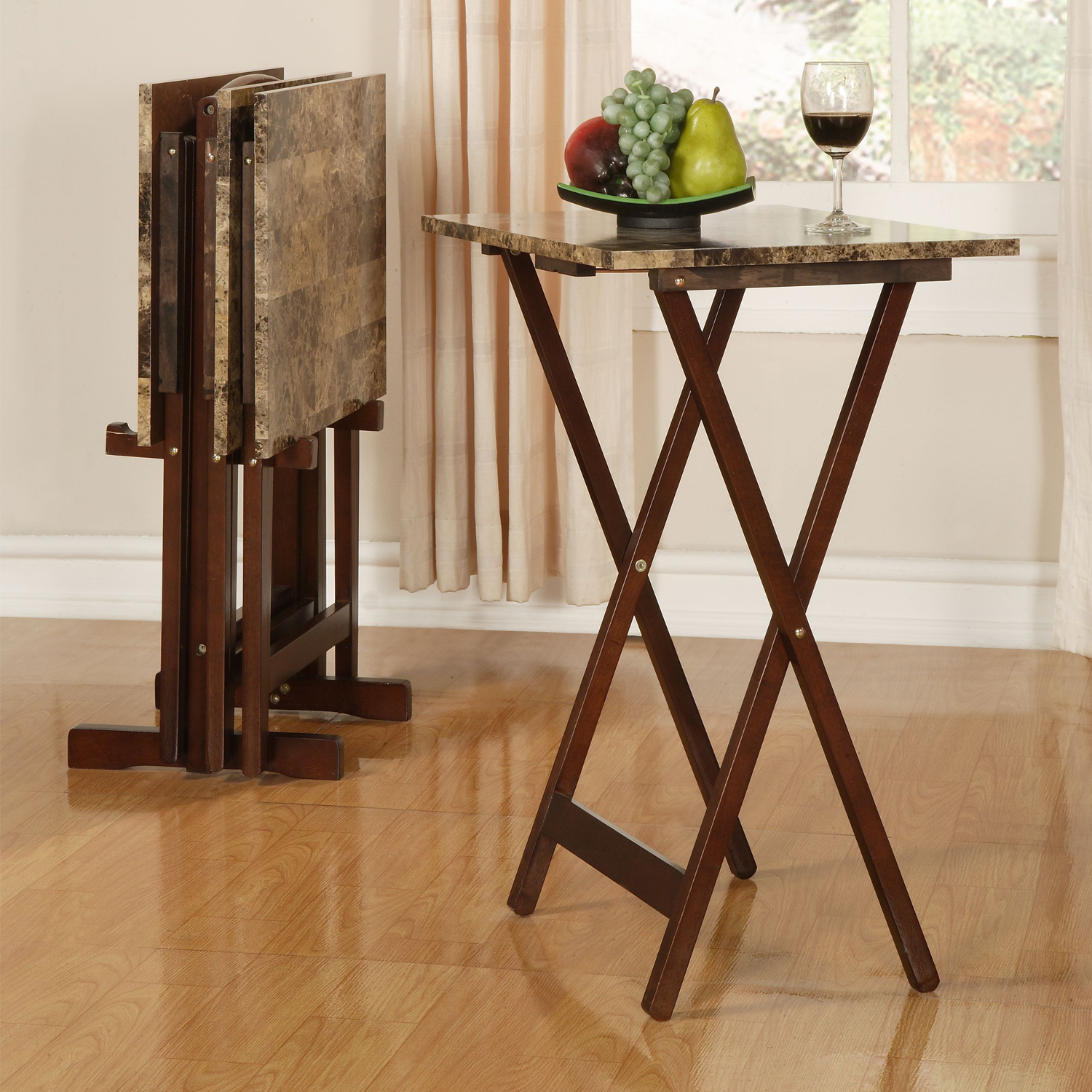 Tv Tray Set With Stands In Most Up To Date Linon Tray Table Set, Set Of 4 Plus Stand, Brown Faux Marble (View 16 of 20)