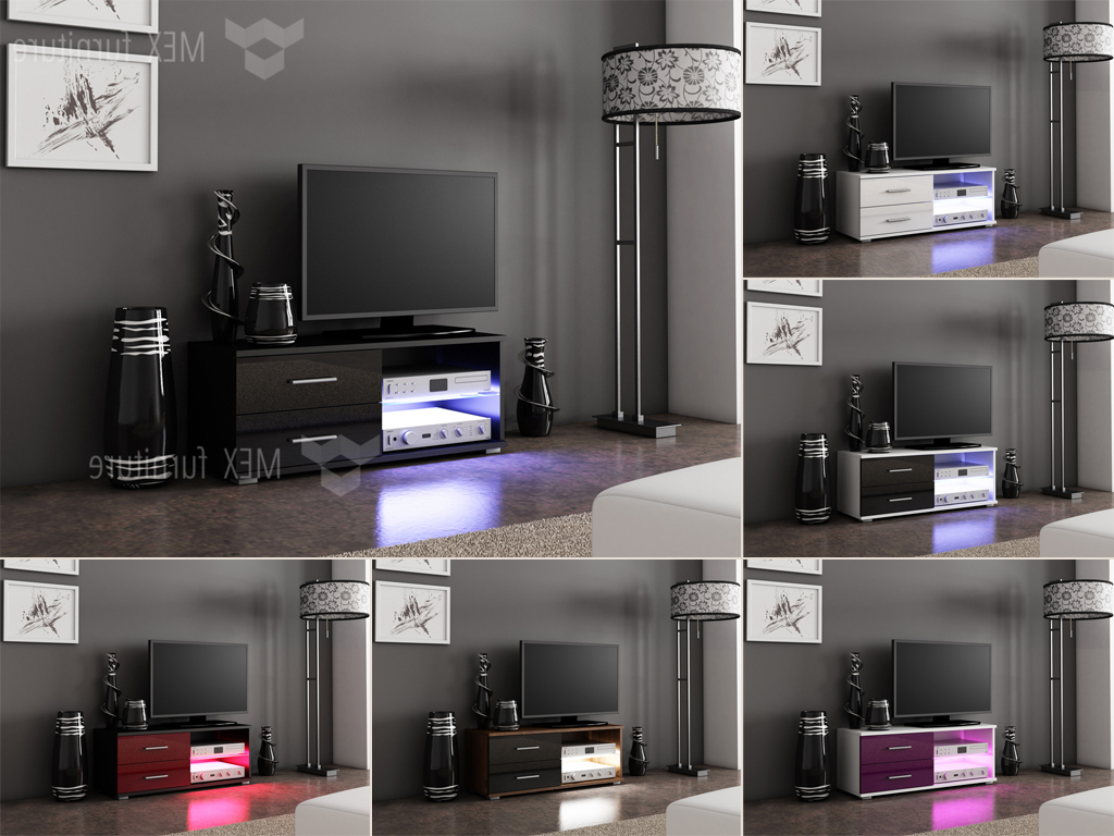Tv Unit 100cm Pertaining To Widely Used High Gloss Tv Cabinets, Unit – Mex Furniture (View 13 of 20)