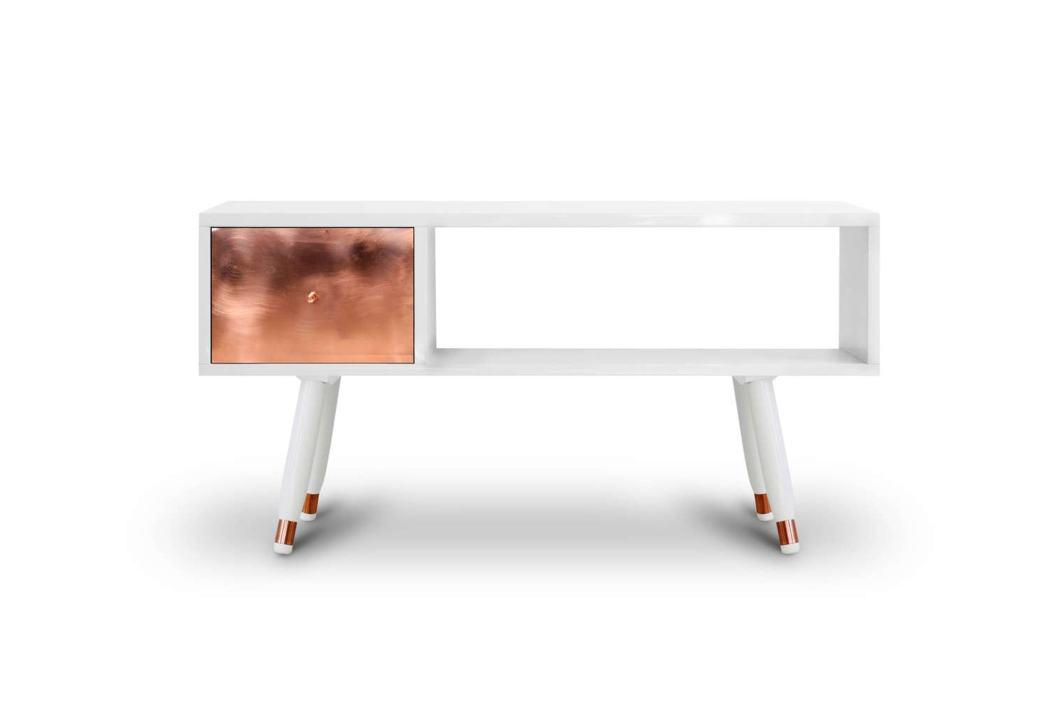 Tv Unit 100cm Regarding Current Carlton White Gloss And Copper Tv Unit 100cm (View 4 of 20)