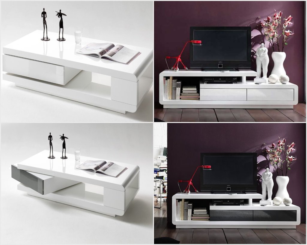 Tv Unit And Coffee Table Sets For Newest Modanuvo Modern White Grey High Gloss Tv Unit Cabinet Coffee Table (View 19 of 20)