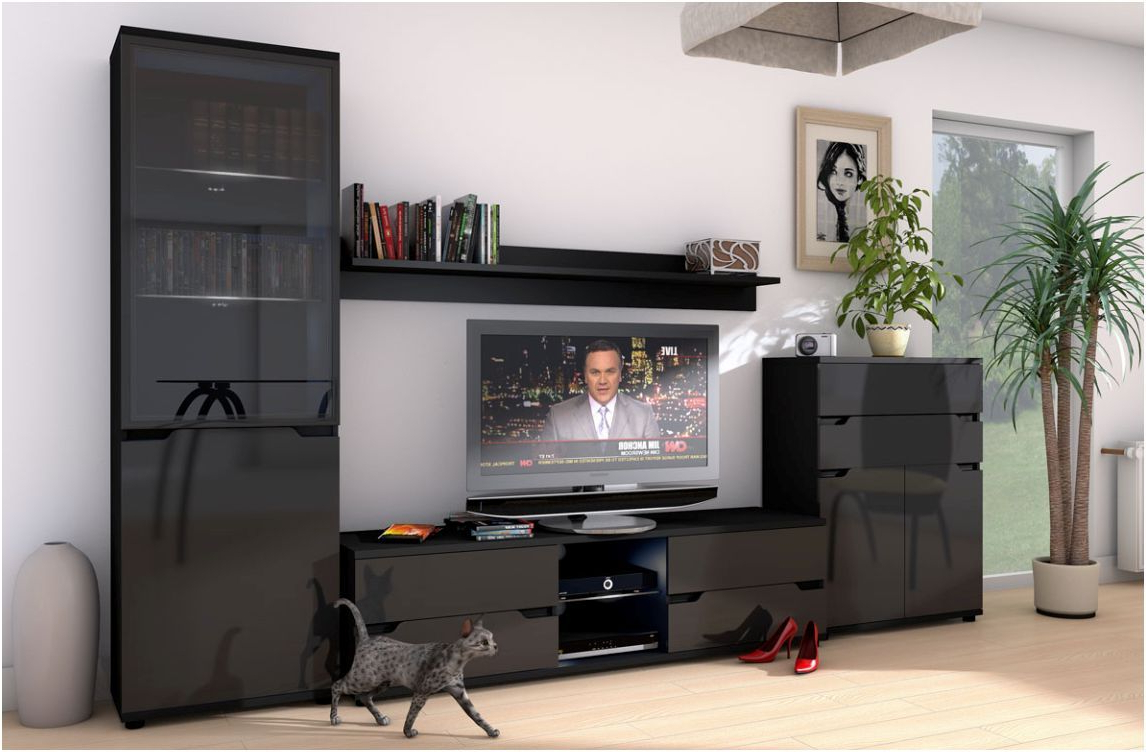 Tv Unit Black Gloss Pertaining To Tall Black Tv Cabinets (View 17 of 20)