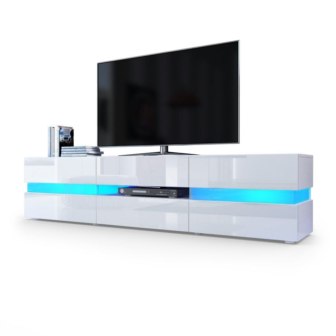Tv Unit Cabinet Flow In White Matt / White High Gloss With Led Throughout 2017 White High Gloss Tv Stands (View 13 of 20)