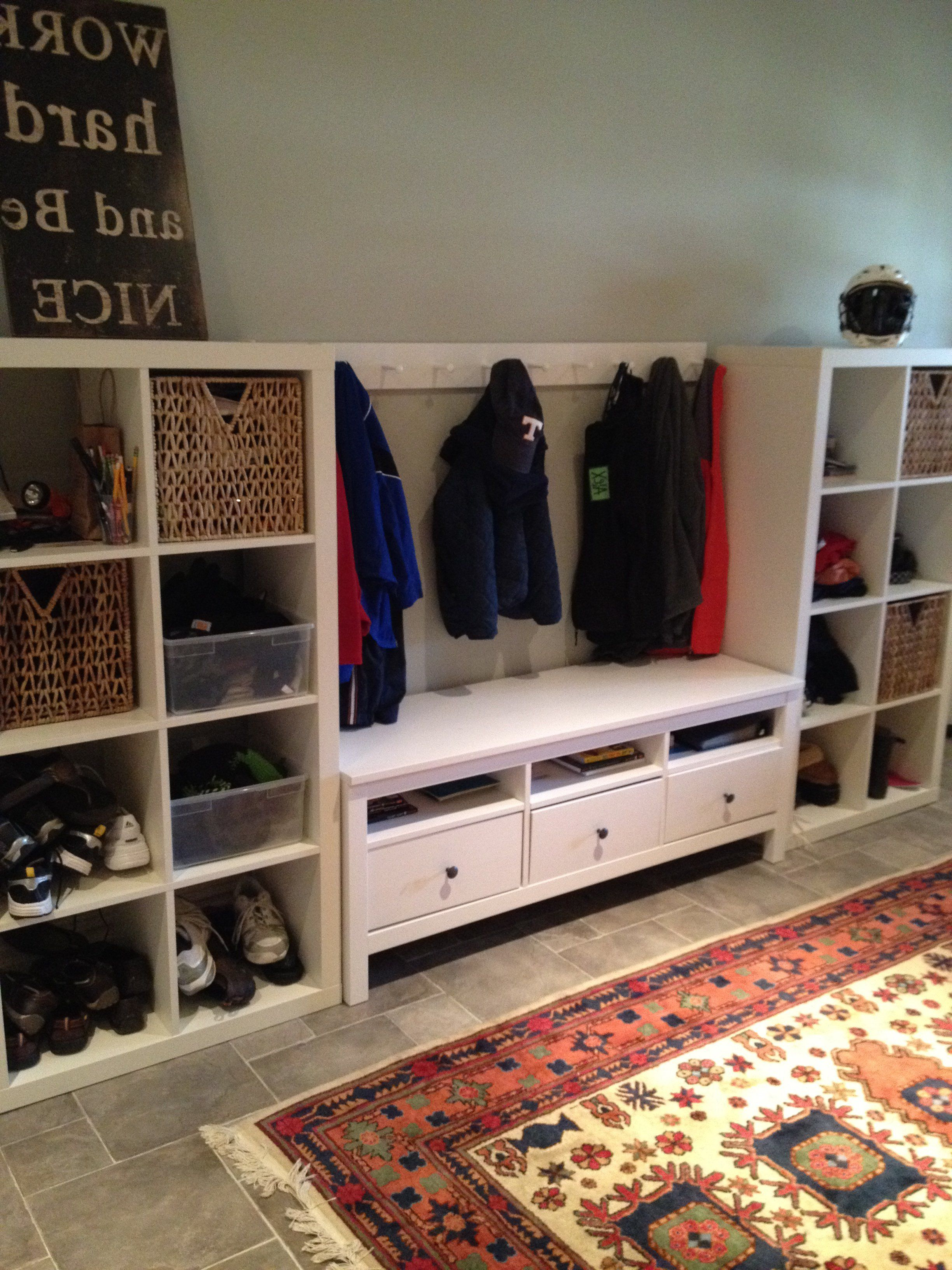 Two Ikea Expedit Bookcases ($69) And An Ikea Hemnes Tv Stand ($169 In Well Known Playroom Tv Stands (View 8 of 20)