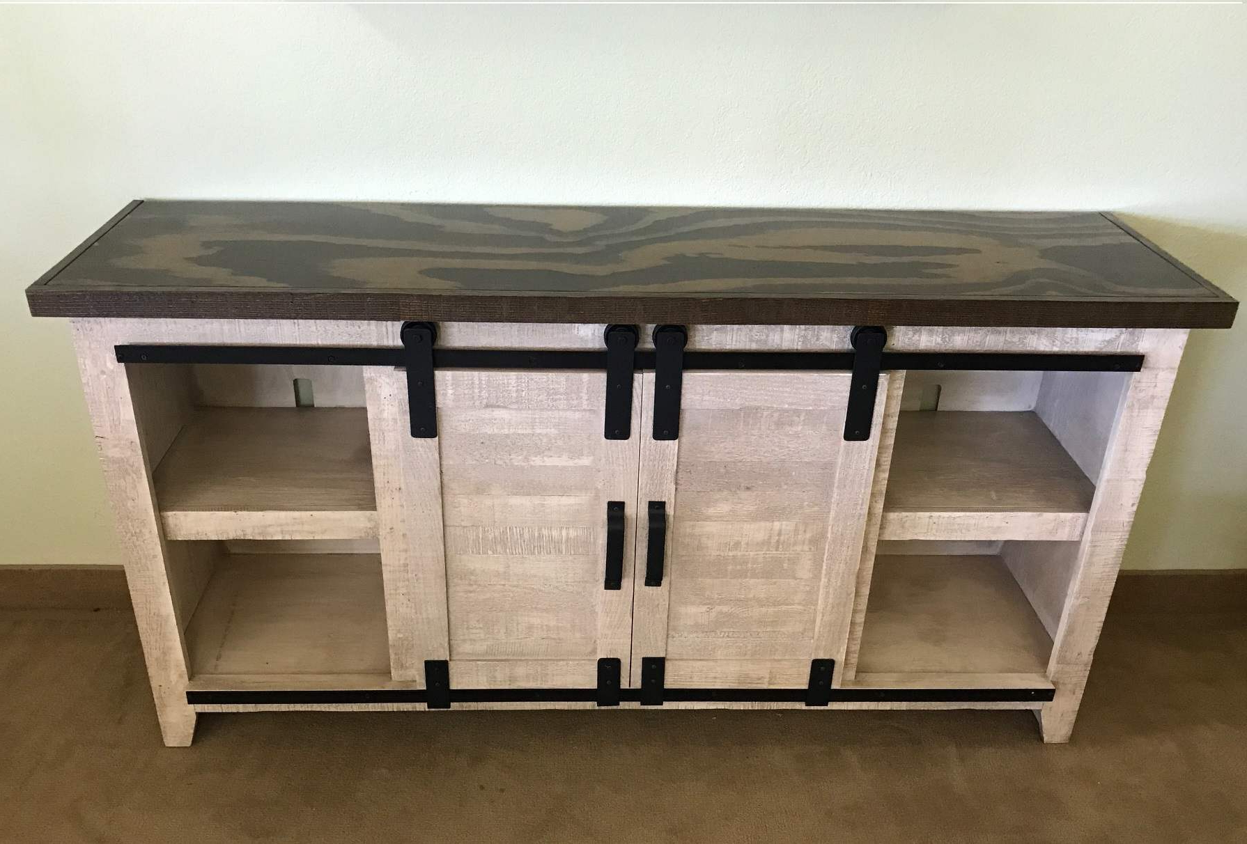 Two Tone Solid Wood Rustic Barn Door Tv Stand Entertainment Center With Most Popular Rustic Wood Tv Cabinets (View 10 of 20)