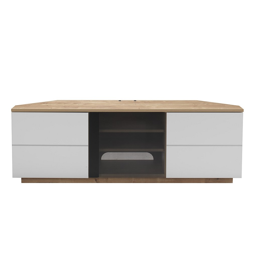 Uk Cf – Milan Corner Tv Stand In Oak And White Throughout Best And Newest White And Wood Tv Stands (View 13 of 20)