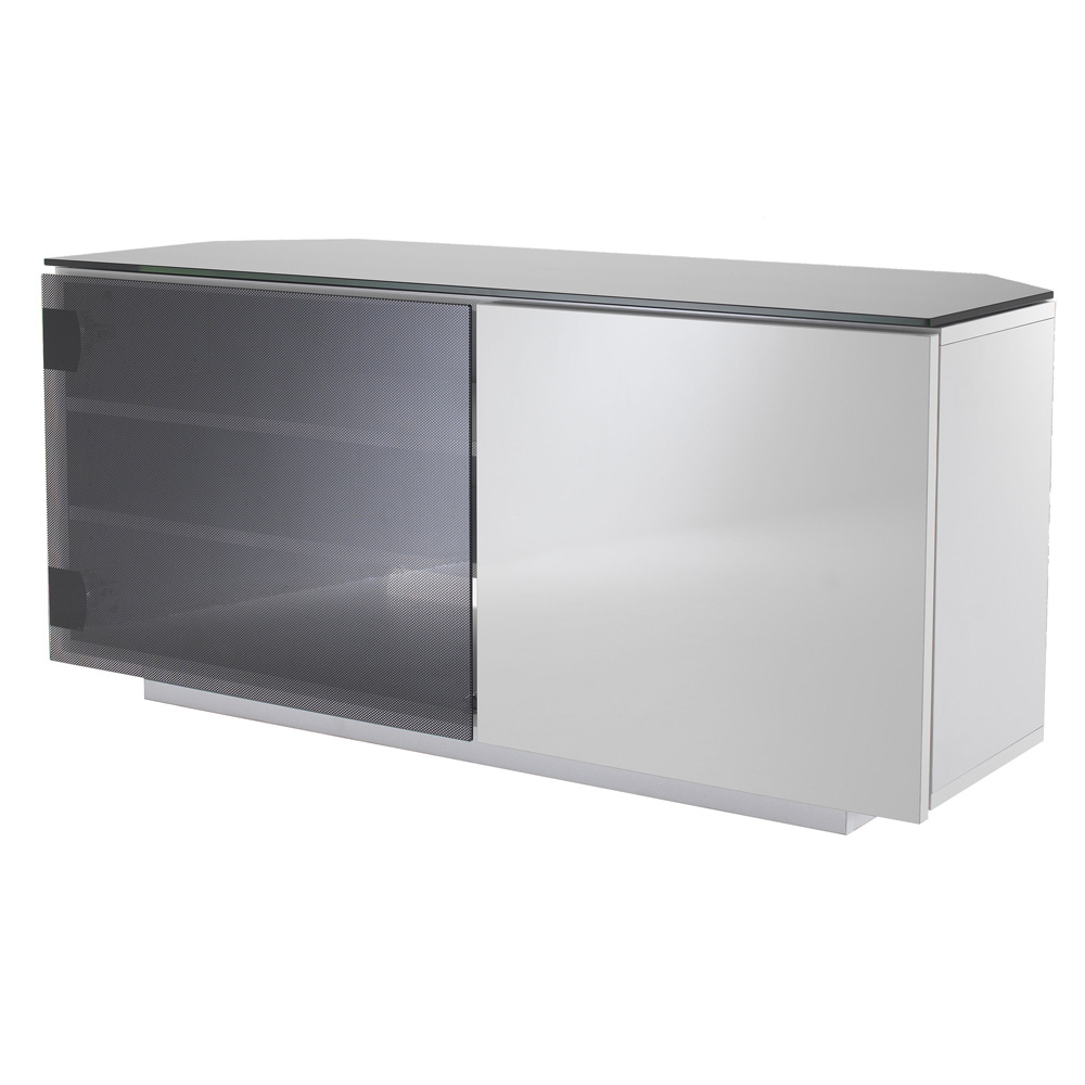 Uk Cf Tokyo Gloss White & Black Glass 2 Door Corner Tv Cabinet 110Cm Pertaining To Most Recent Black Corner Tv Cabinets With Glass Doors (View 18 of 20)