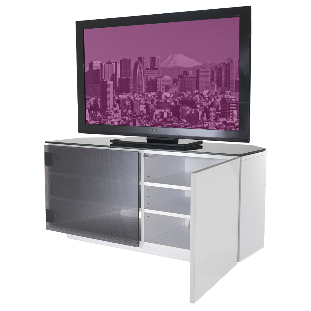 Uk Cf Tokyo Gloss White & Black Glass 2 Door Corner Tv Cabinet 110Cm With Current Black Corner Tv Cabinets With Glass Doors (View 7 of 20)