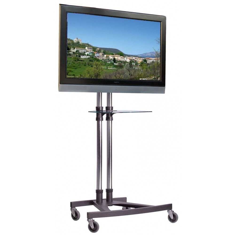 Unicol Vs1000 Modern Business Trolley With Dvd Laptop Shelf Best Uk Throughout Recent Oxford 70 Inch Tv Stands (Gallery 15 of 20)