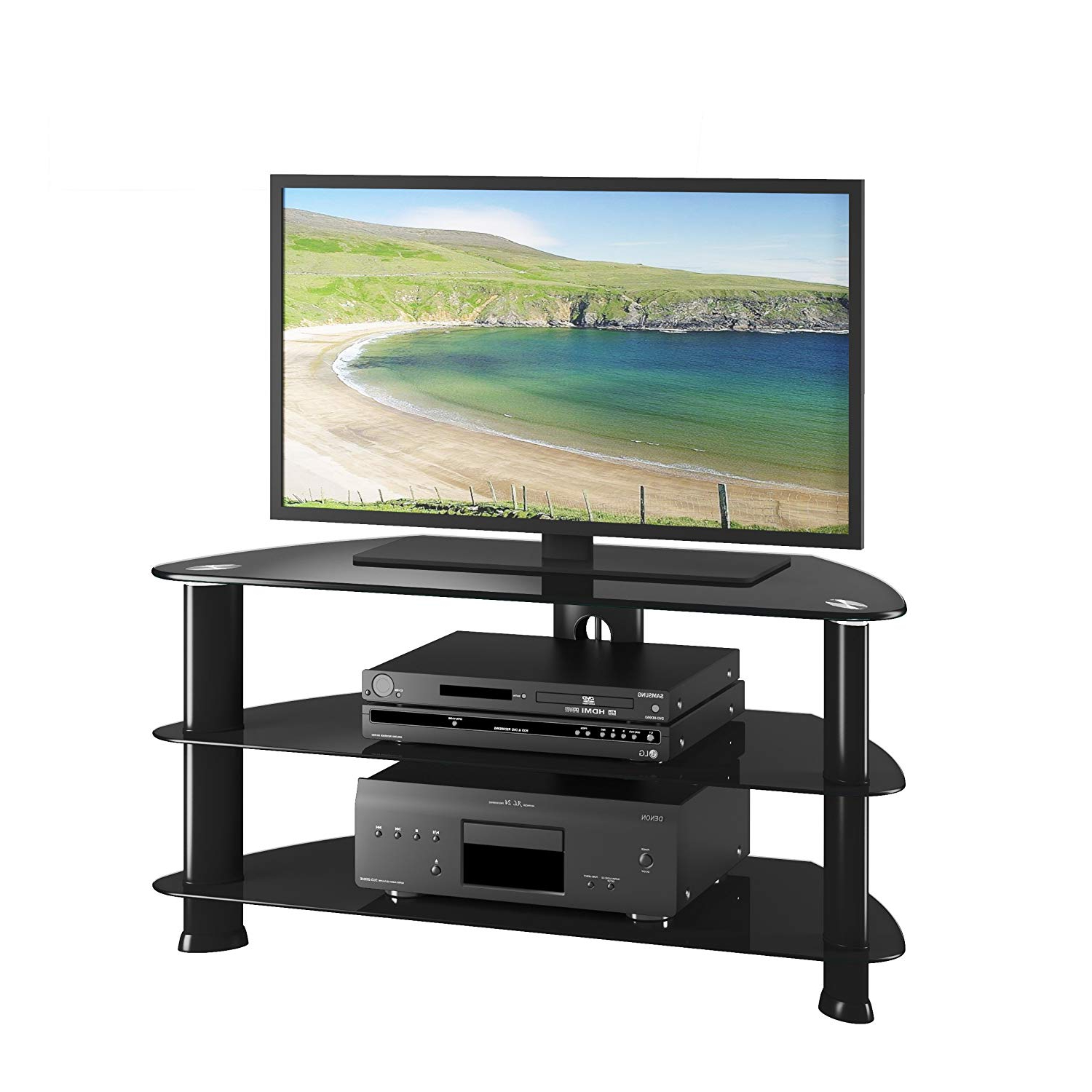 Universal 24 Inch Tv Stands Throughout Most Recently Released Amazon: Corliving Trl 401 T Laguna Satin Black Corner Tv Stand (View 12 of 20)