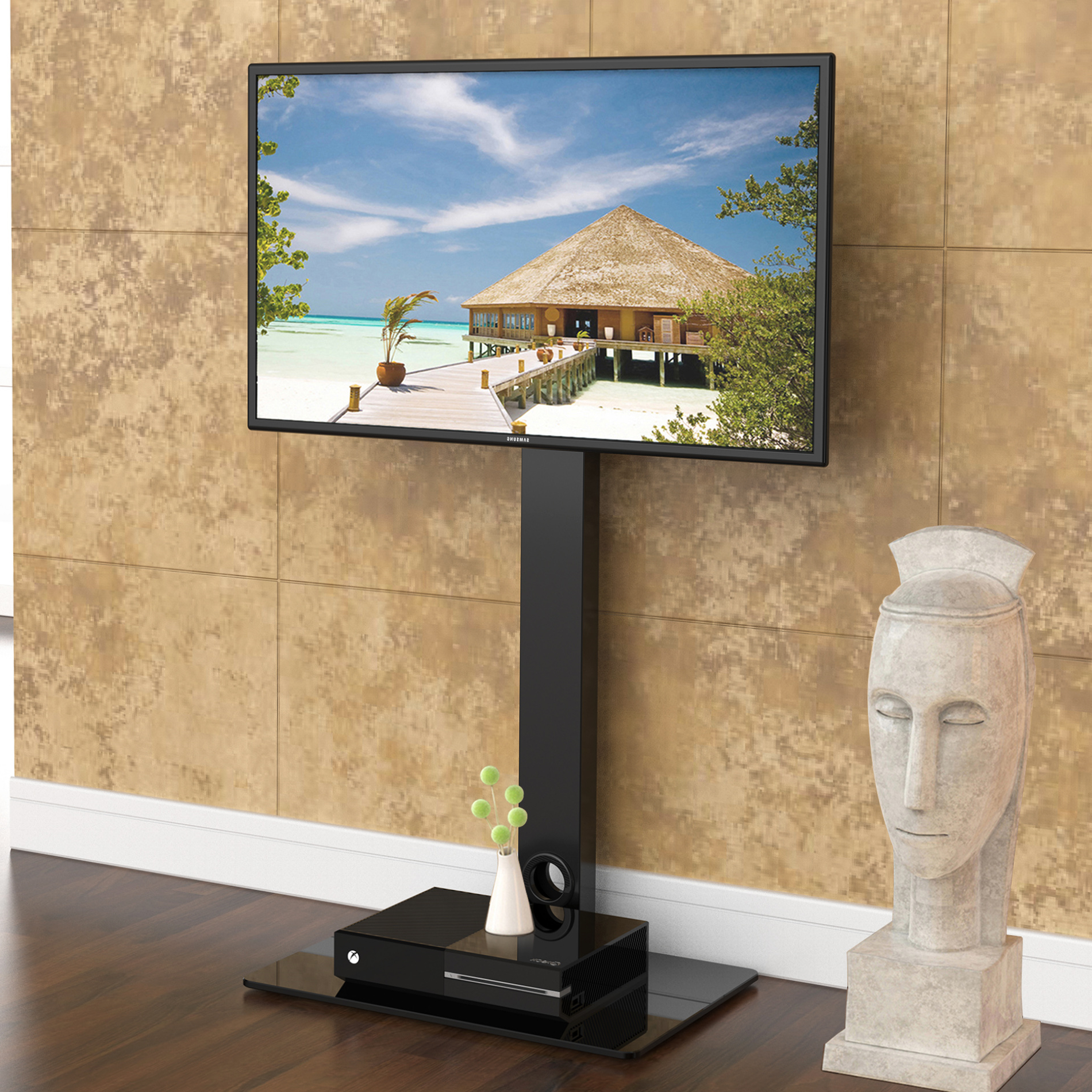 """Universal Floor Swivel Tv Stand Base With Mount For 26"""" To 55"""" Tv With Trendy Tv Stands Swivel Mount (View 9 of 20)"""