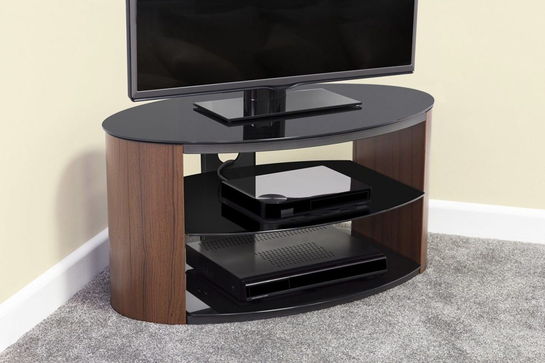 Universal Oval Tv Stand Walnut Effect W Black Glass Top And Shelves Within Recent Oval Glass Tv Stands (View 19 of 20)