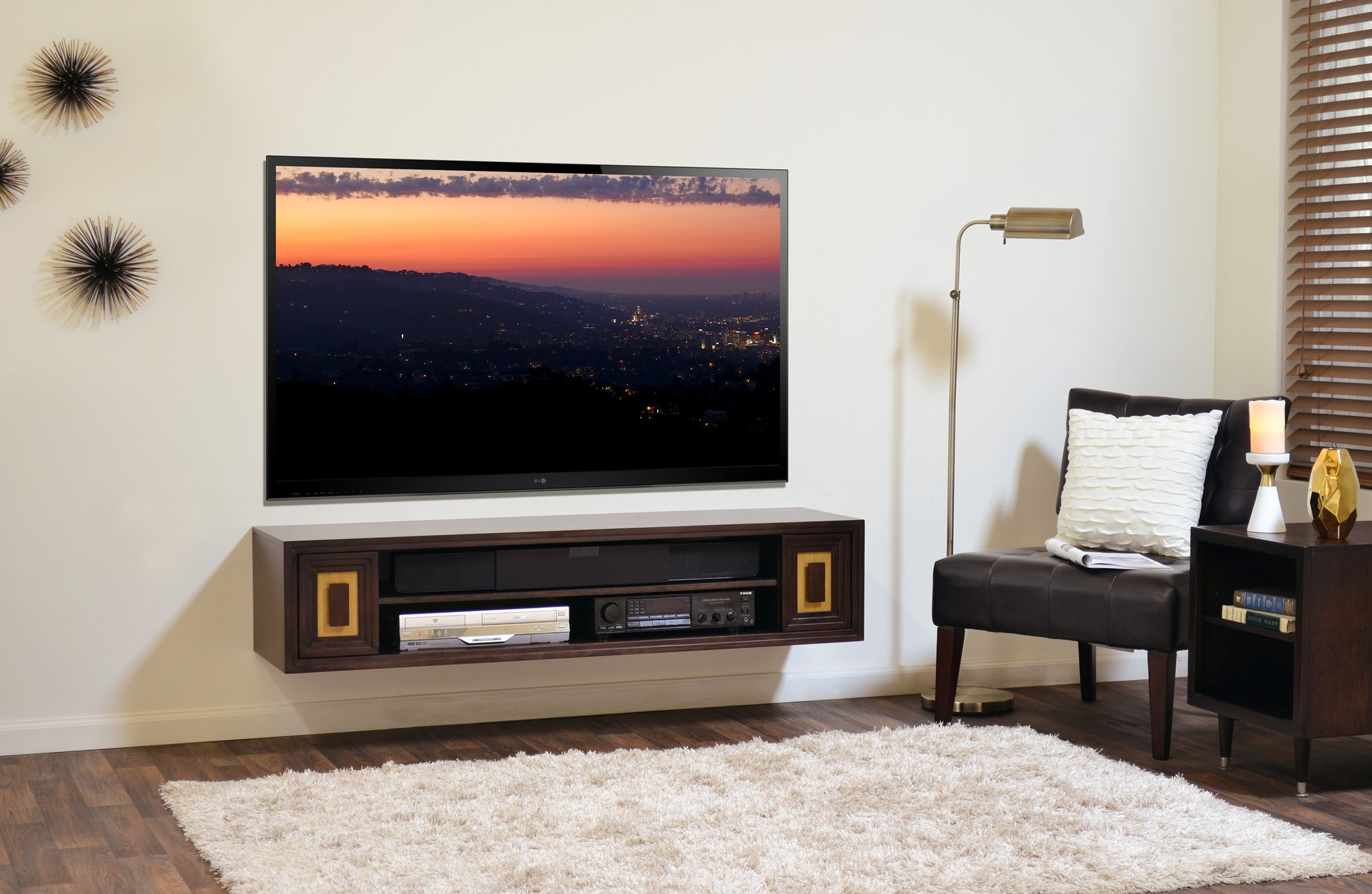 Unusual Shelves Dvd Player Sound System Flat Tv A Single Black Chair Regarding Fashionable Unusual Tv Cabinets (View 12 of 20)
