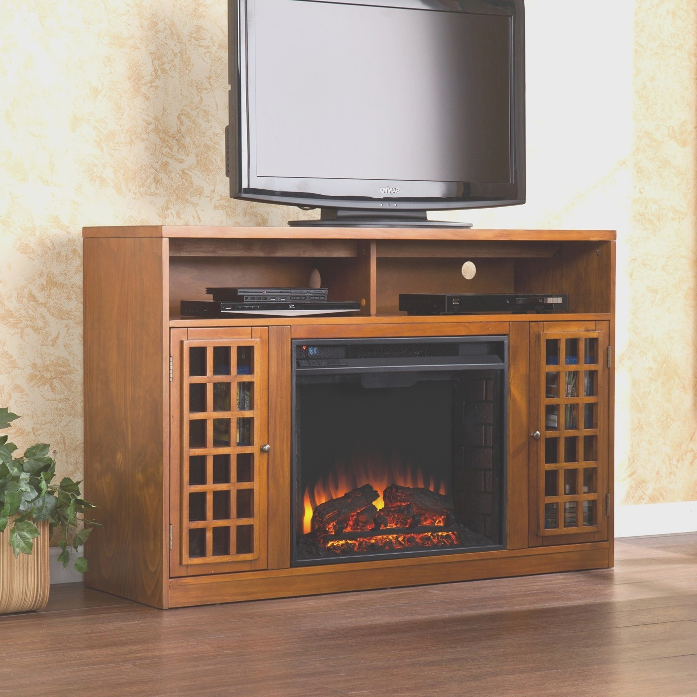 Unusual Tv Stands With Regard To Most Current Cute Walmart Better Homes And Gardens Tv Stand On Corner Fireplace (Gallery 13 of 20)