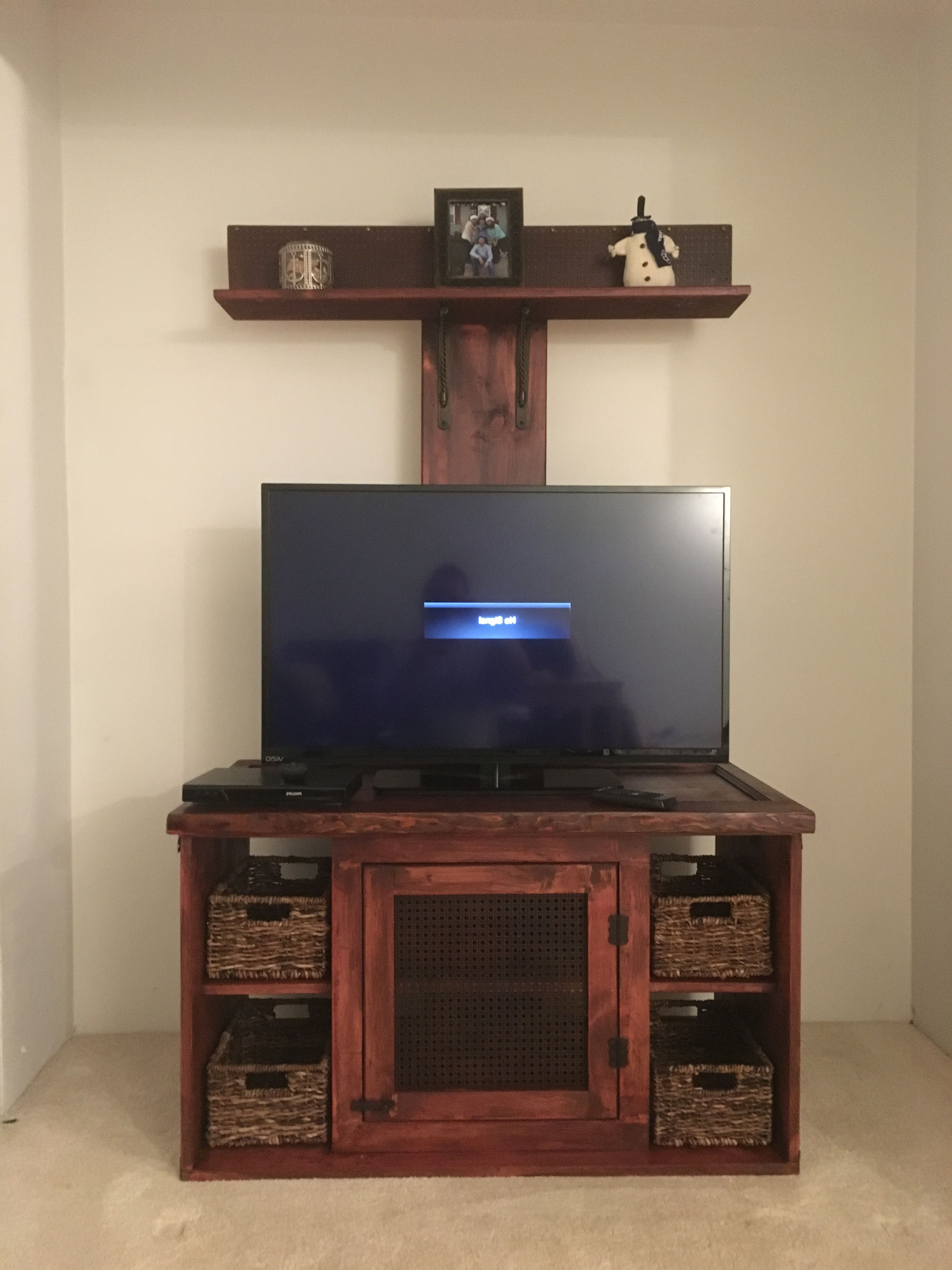 Upright Tv Stands For Most Recent Custom Designed Tv Stand With An Upright Shelf. Designed To Hide (Gallery 1 of 20)