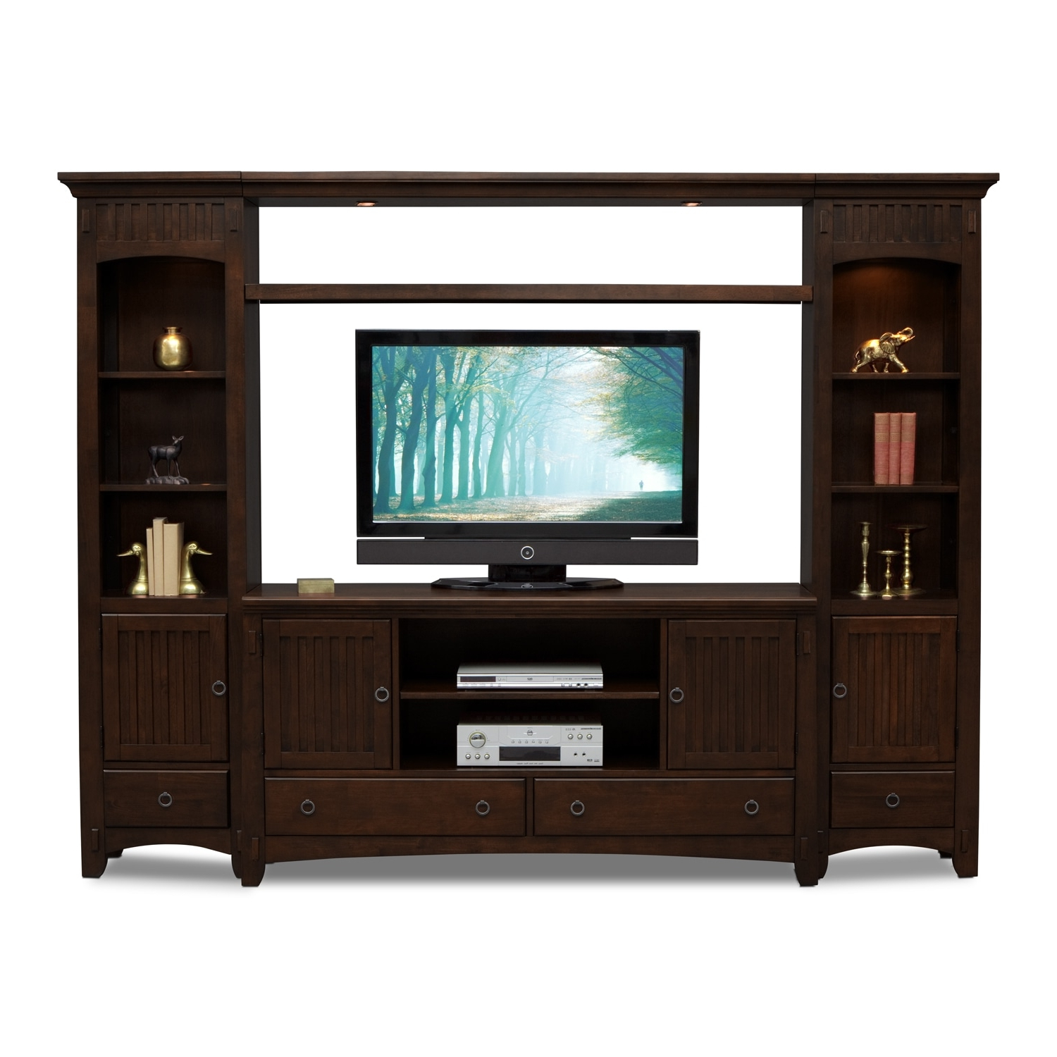 Value City Pertaining To Oak Tv Stands With Glass Doors (View 18 of 20)