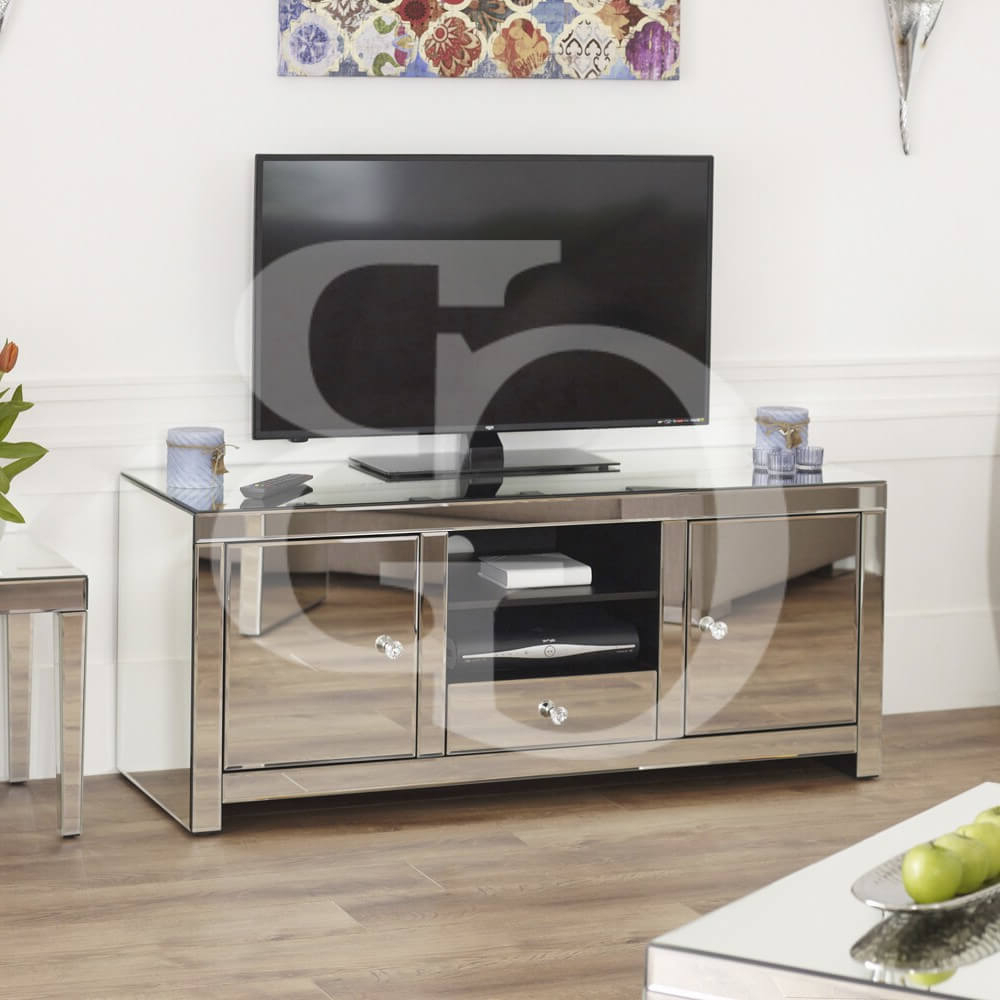 Venetian Mirrored Widescreen Tv Unit (Gallery 8 of 20)