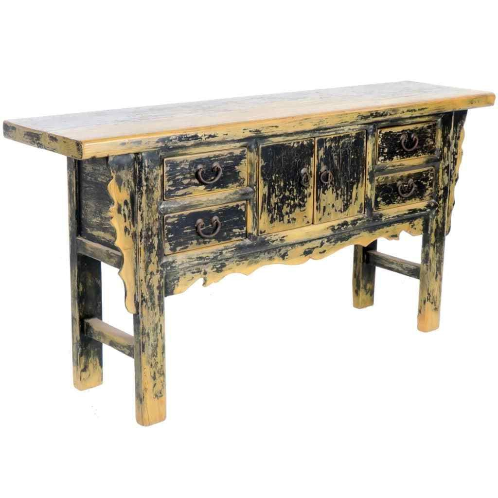 Vintage 71 Inch Long Black Asian Buffet Cabinet Table, 4 Drawer 2 For 2017 Balboa Carved Console Tables (View 17 of 20)