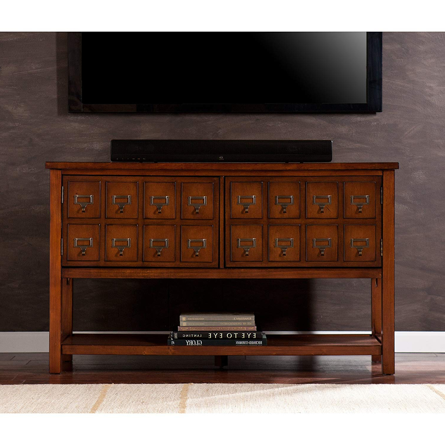 Wakefield 85 Inch Tv Stands In Most Current Amazon: Southern Enterprises Apothecary Console/tv Stand – Brown (View 18 of 20)