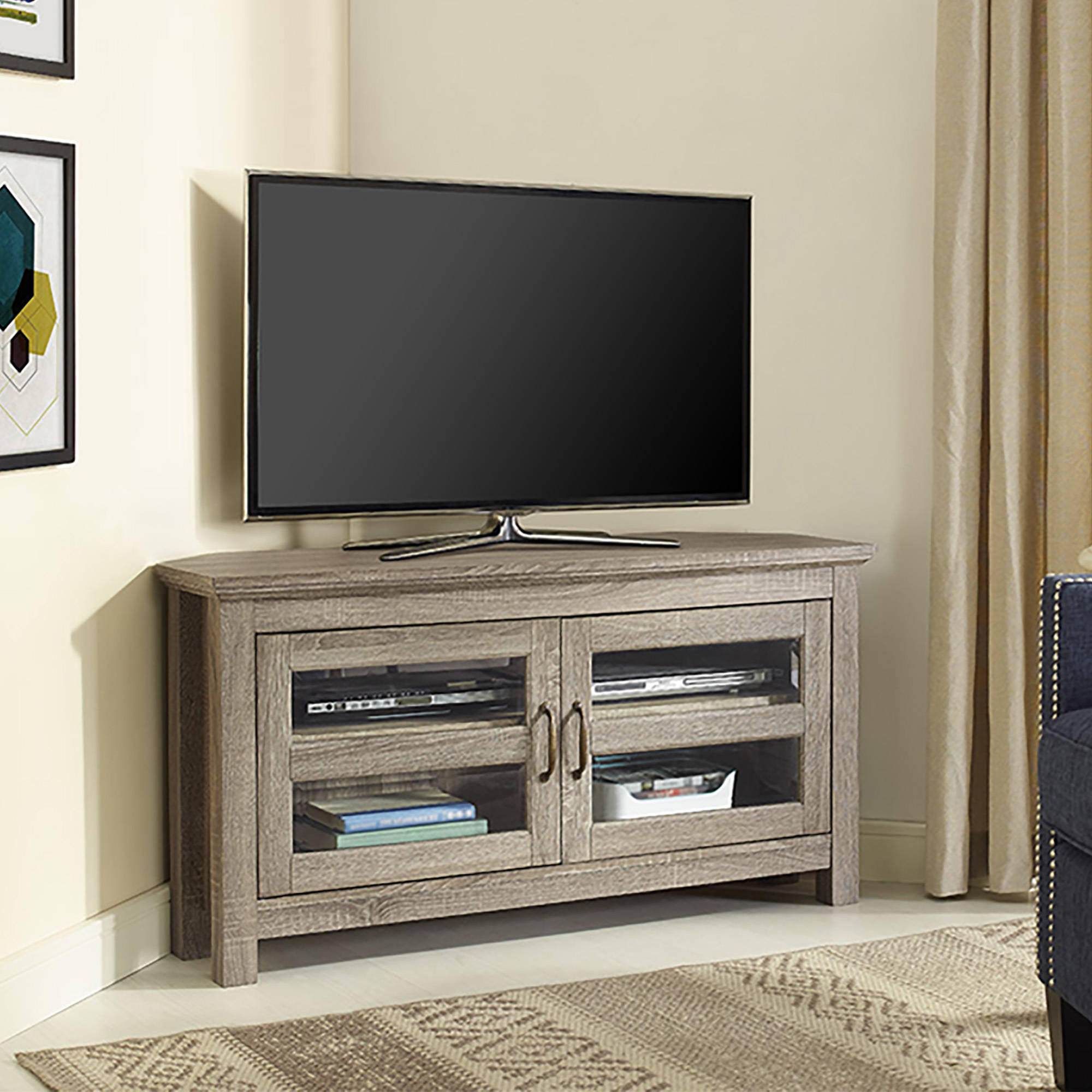 "Walker Edison Black Corner Tv Stand For Tvs Up To 48"", Multiple With Trendy Black Wood Corner Tv Stands (View 17 of 20)"