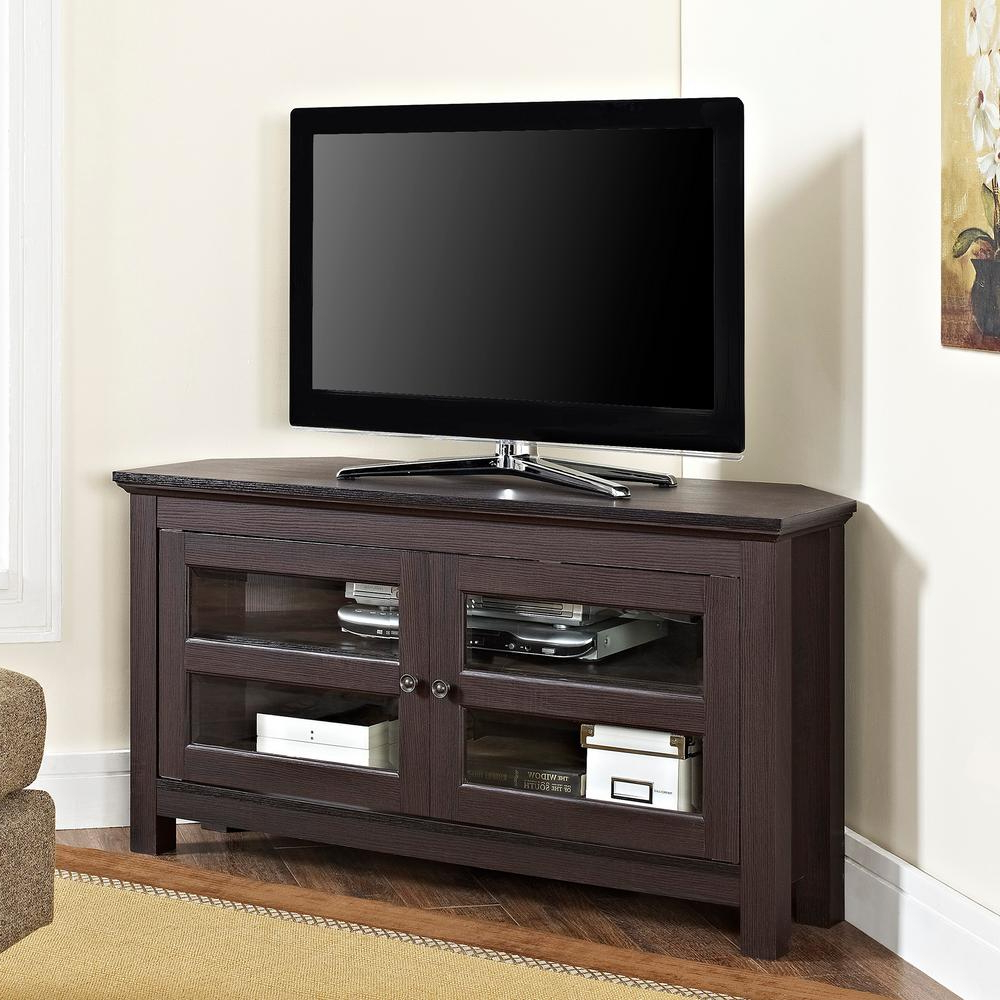 Walker Edison Furniture Company Cordoba Espresso Entertainment In Most Recent Corner Tv Stands With Drawers (View 19 of 20)