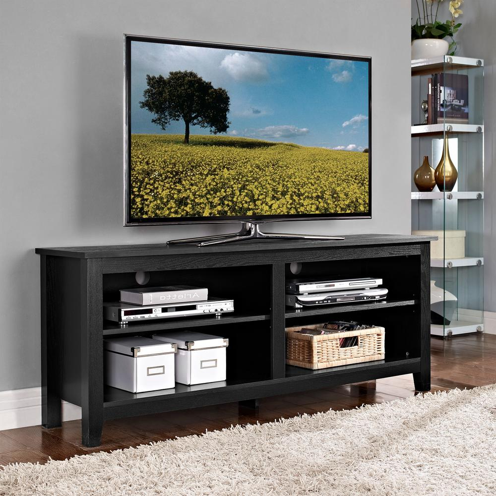 Walker Edison Furniture Company Essential Black Storage With 2018 Wooden Tv Stands For Flat Screens (View 17 of 20)