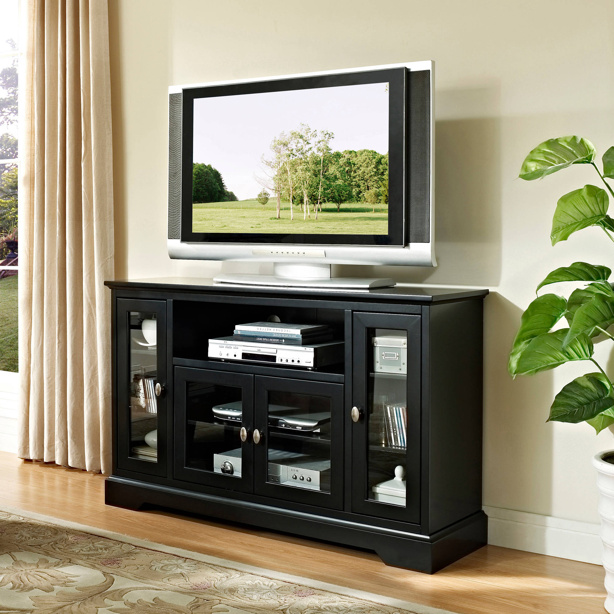Walker Edison Highboy Style Wood Media Storage Tv Stand Console For With Regard To Famous Dark Wood Tv Stands (View 17 of 20)