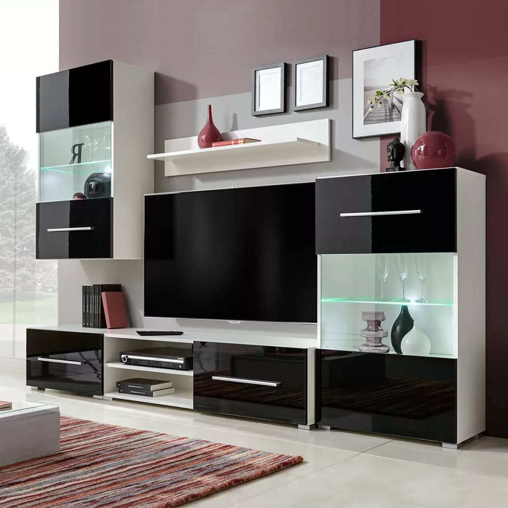 Wall Display Units And Tv Cabinets With Well Known 5 Pcs Wall Display Cabinet Tv Unit Chest W/ Led Lighting Living Room (View 16 of 20)