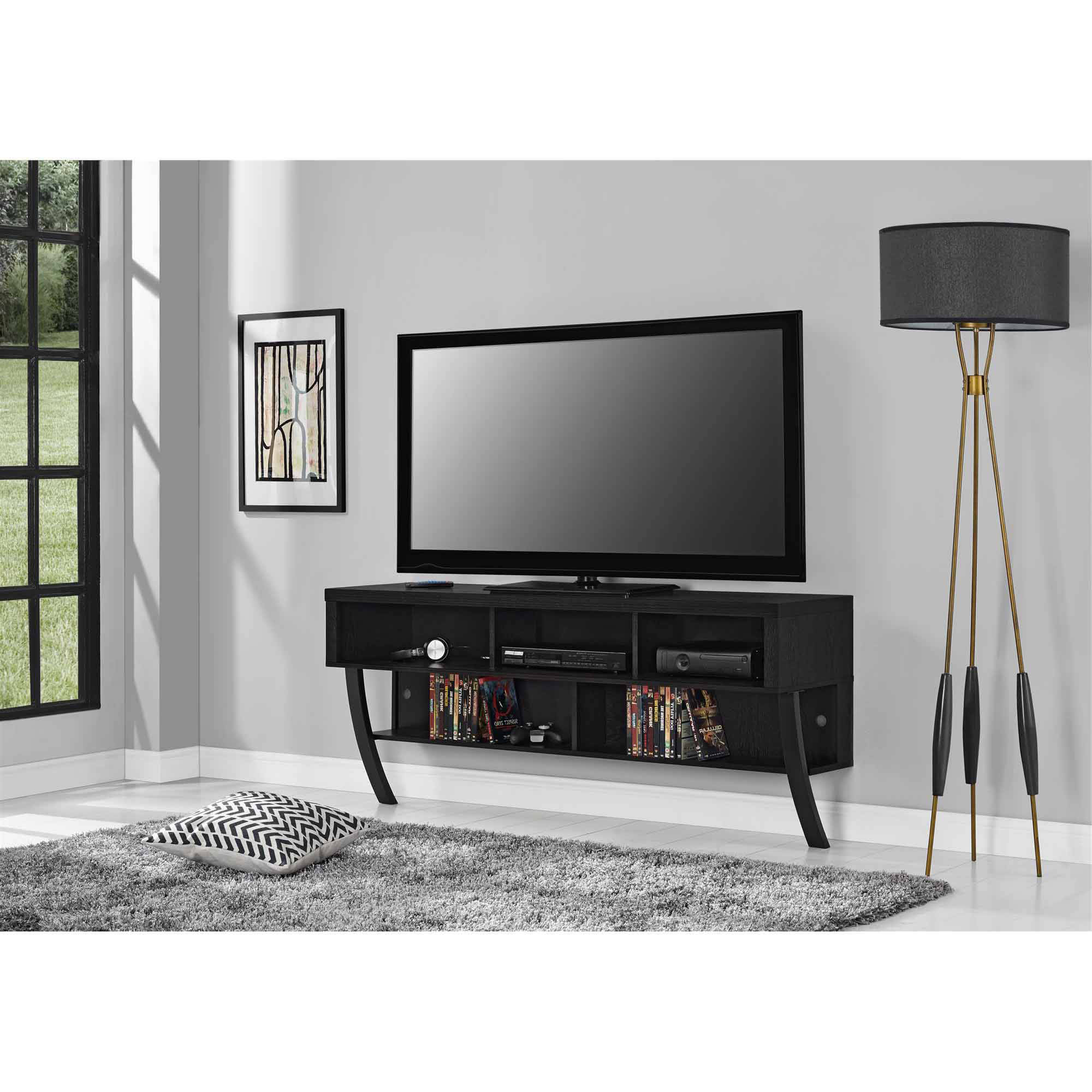 "Wall Mounted Tv Racks Within Well Liked Altra Asher Wall Mounted 65"" Tv Stand, Black Oak – Walmart (Gallery 1 of 20)"