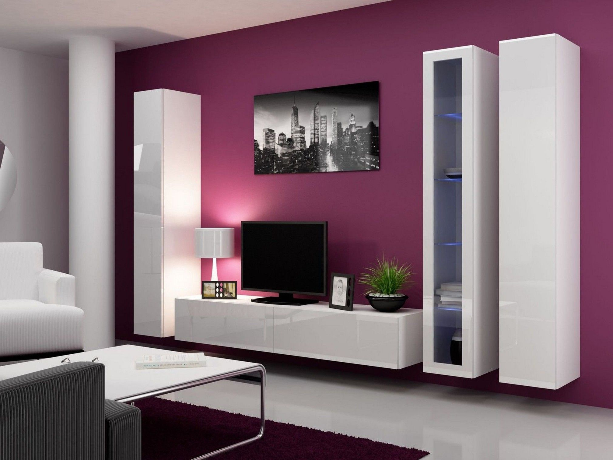 Wall Mounted Tv Unit, Furniture, Pink Color Schemes Ideas For Throughout 2018 Modern Wall Mount Tv Stands (View 17 of 20)