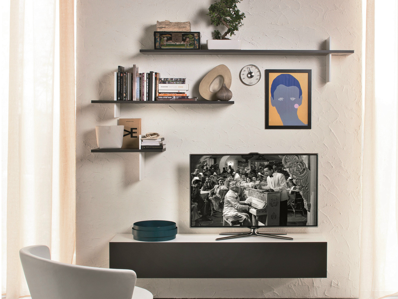 Wall Units: Inspiring Wall Shelves With Tv Floating Shelf Under Tv Regarding Best And Newest Shelves For Tvs On The Wall (View 7 of 20)