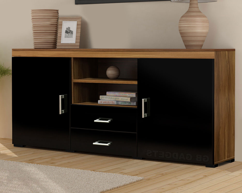Walnut And Black Gloss Tv Units Inside Most Popular Wood Tv Stand Sideboard Tv Unit Cabinet With Drawers Shelf Glossy (View 2 of 20)