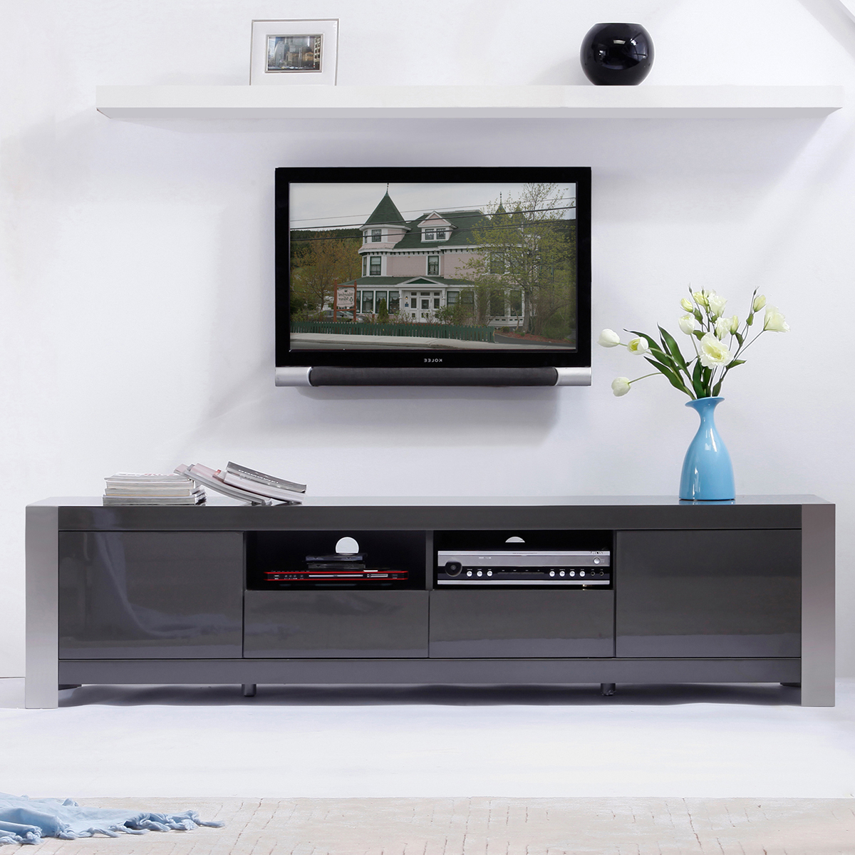Walnut And Black Gloss Tv Units Intended For Newest Tv Television Stands 71 & Wider (Gallery 16 of 20)