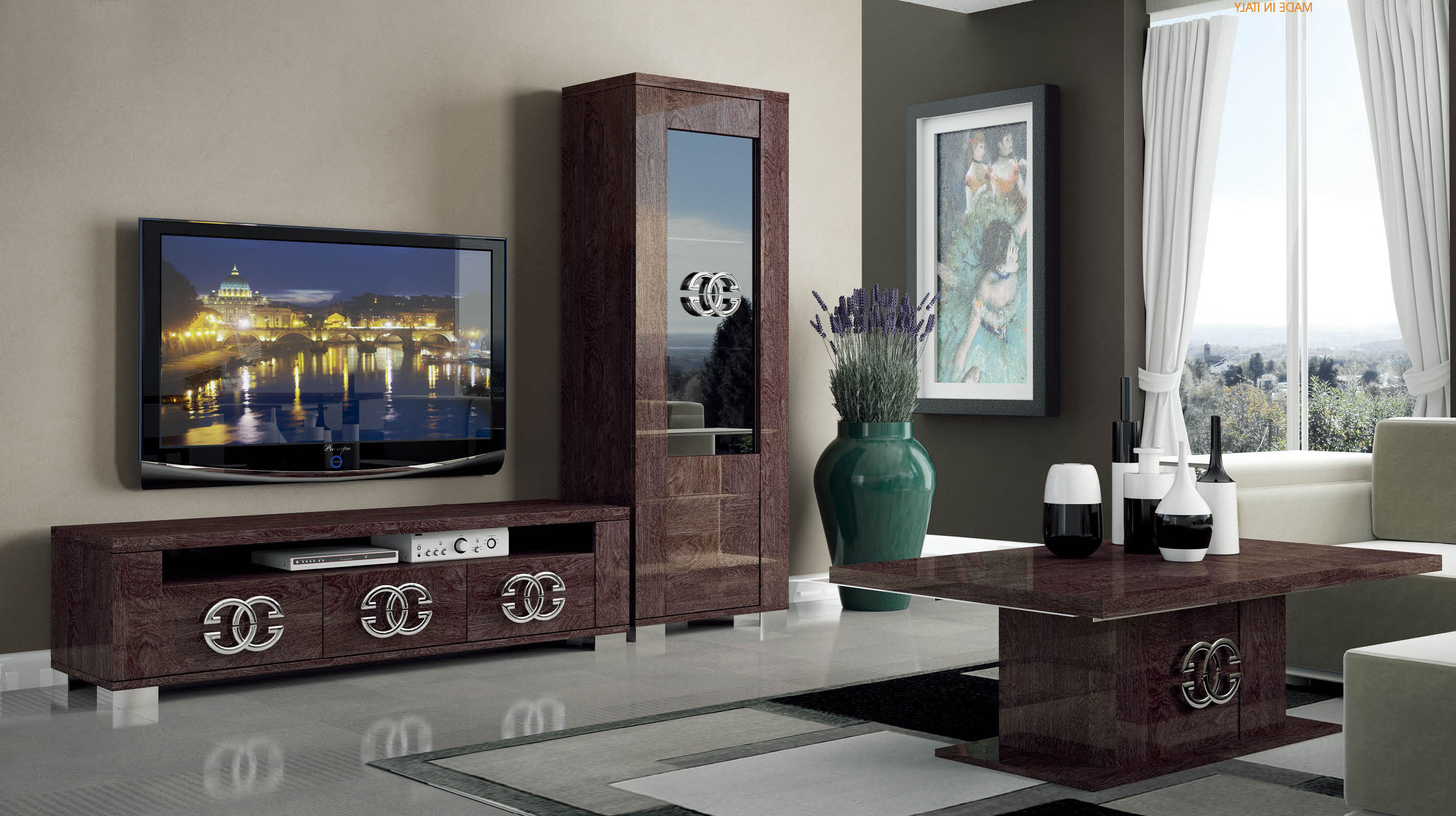 Walnut Brown Tv Stand With Side Vitrine Shelves Hialeah Florida Esf Within Favorite Wall Display Units And Tv Cabinets (View 18 of 20)