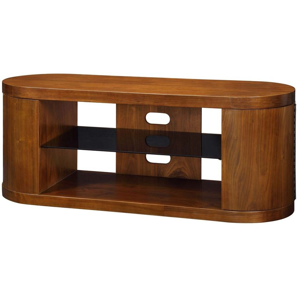 Walnut Tv Cabinets With Doors For Fashionable Modern Walnut Wooden Storage Stand Black Glass Shelves (View 15 of 20)