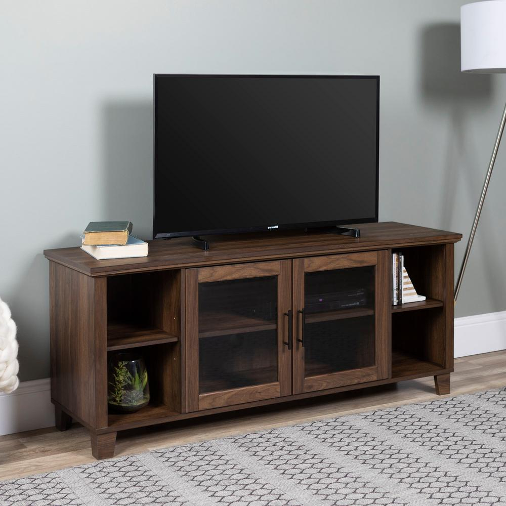 Walnut Tv Cabinets With Doors Pertaining To Most Recent Walker Edison Furniture Company Columbus Dark Walnut Tv Stand With (View 16 of 20)