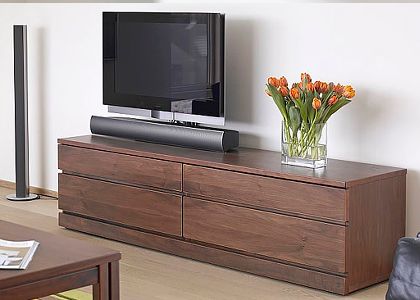 Walnut Tv Cabinets With Well Known Skovby Sm87 Tv Cabinet In Walnut Finish 1 – Midfurn Furniture Superstore (View 19 of 20)