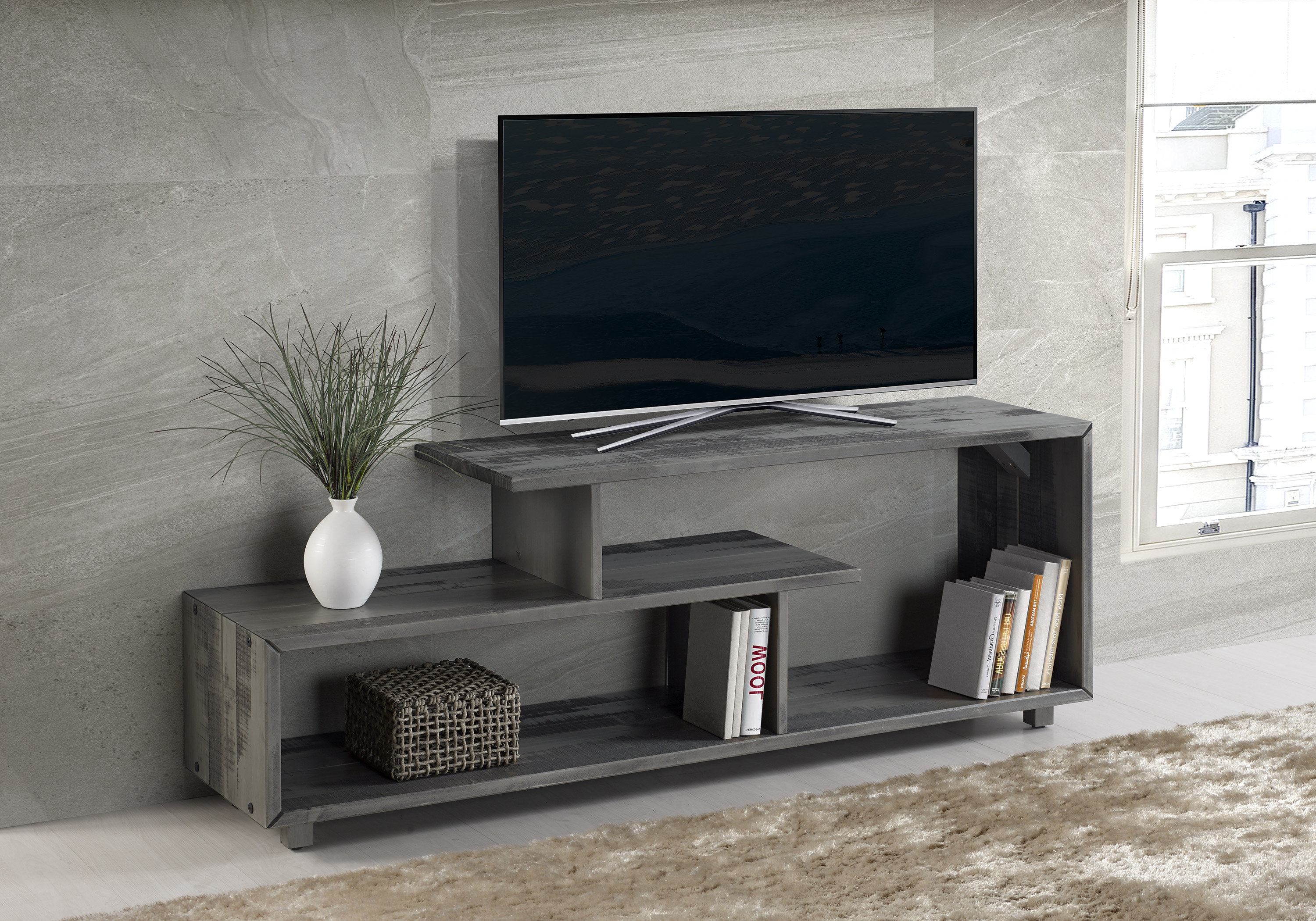 Walton Grey 72 Inch Tv Stands Pertaining To Popular Solid Wood Tv Stand Tv Stands & Entertainment Centers You'll Love (View 15 of 20)