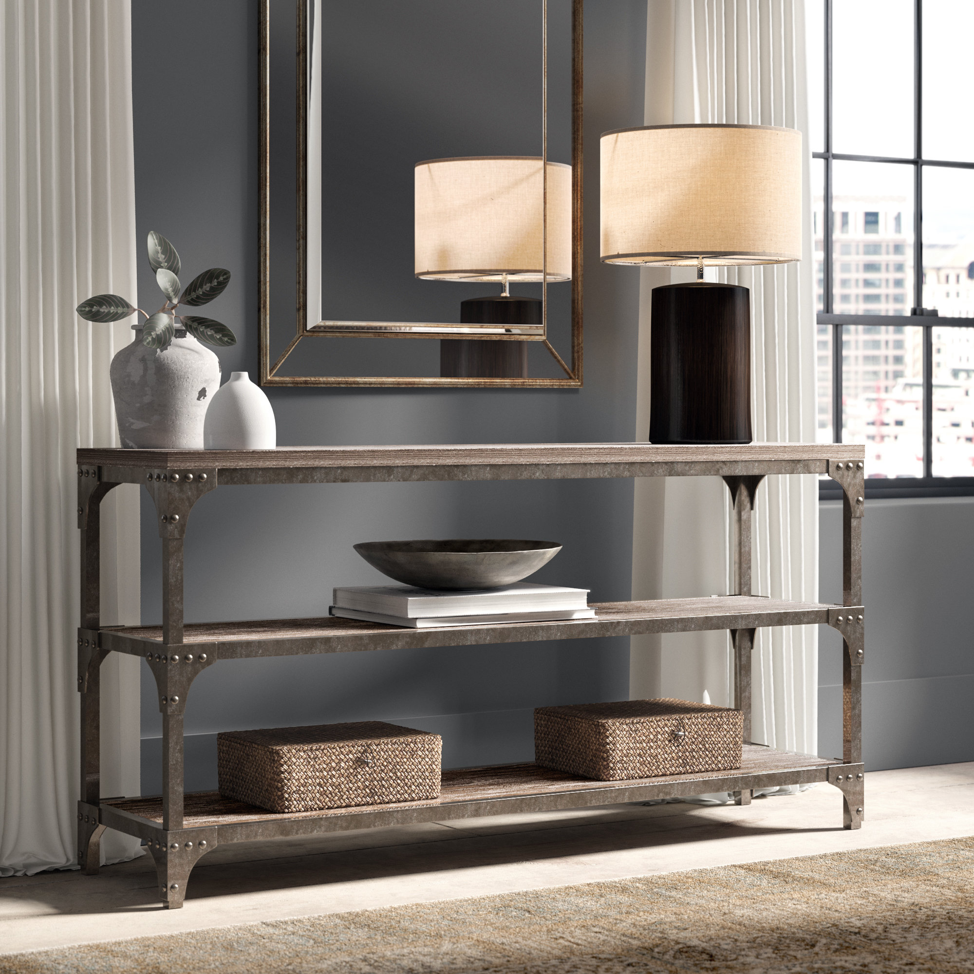 Wayfair Regarding Well Liked Parsons Walnut Top & Dark Steel Base 48x16 Console Tables (View 15 of 20)