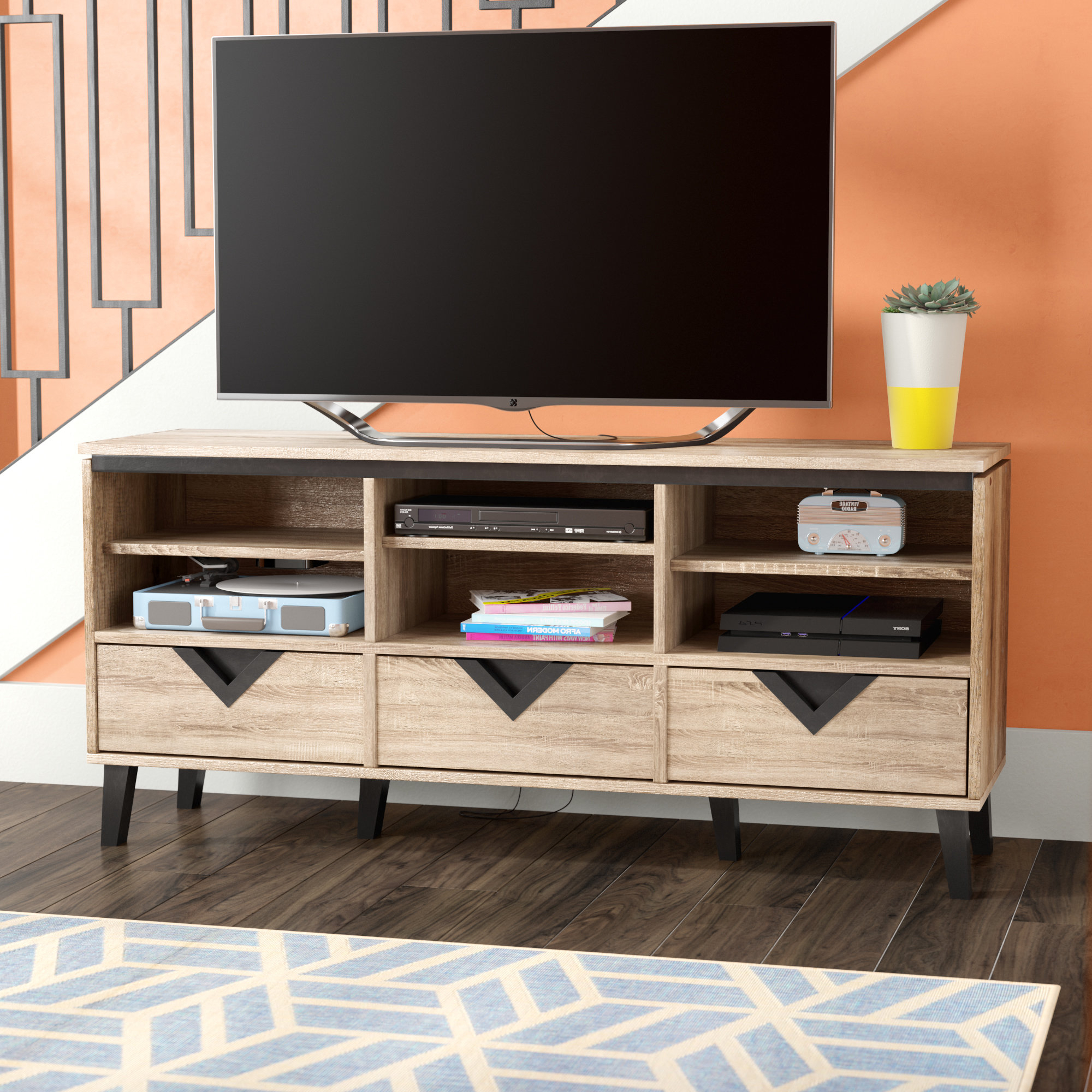 Wayfair Within 2017 Oak & Brass Stacking Media Console Tables (Gallery 19 of 20)