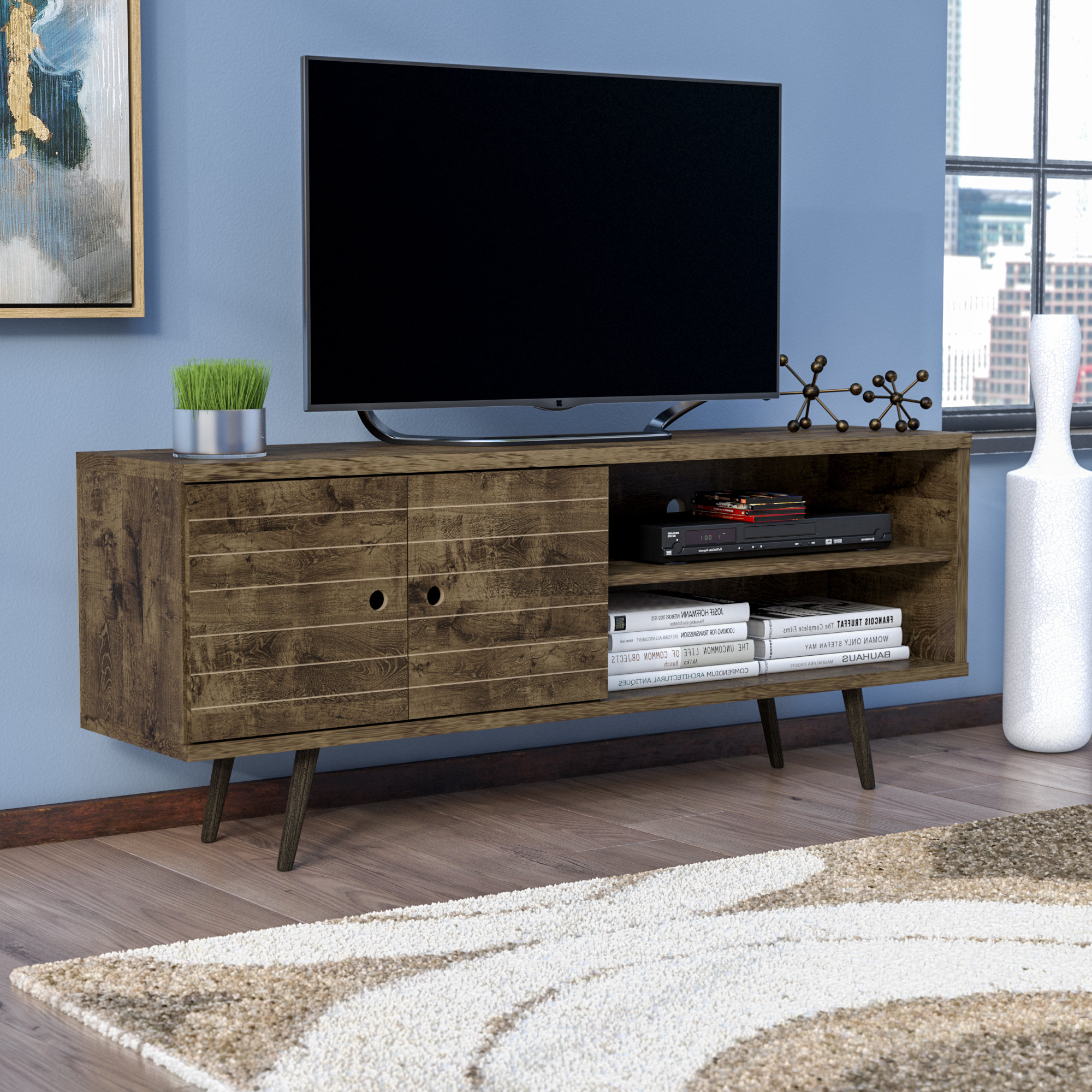 Featured Photo of Century Blue 60 Inch Tv Stands