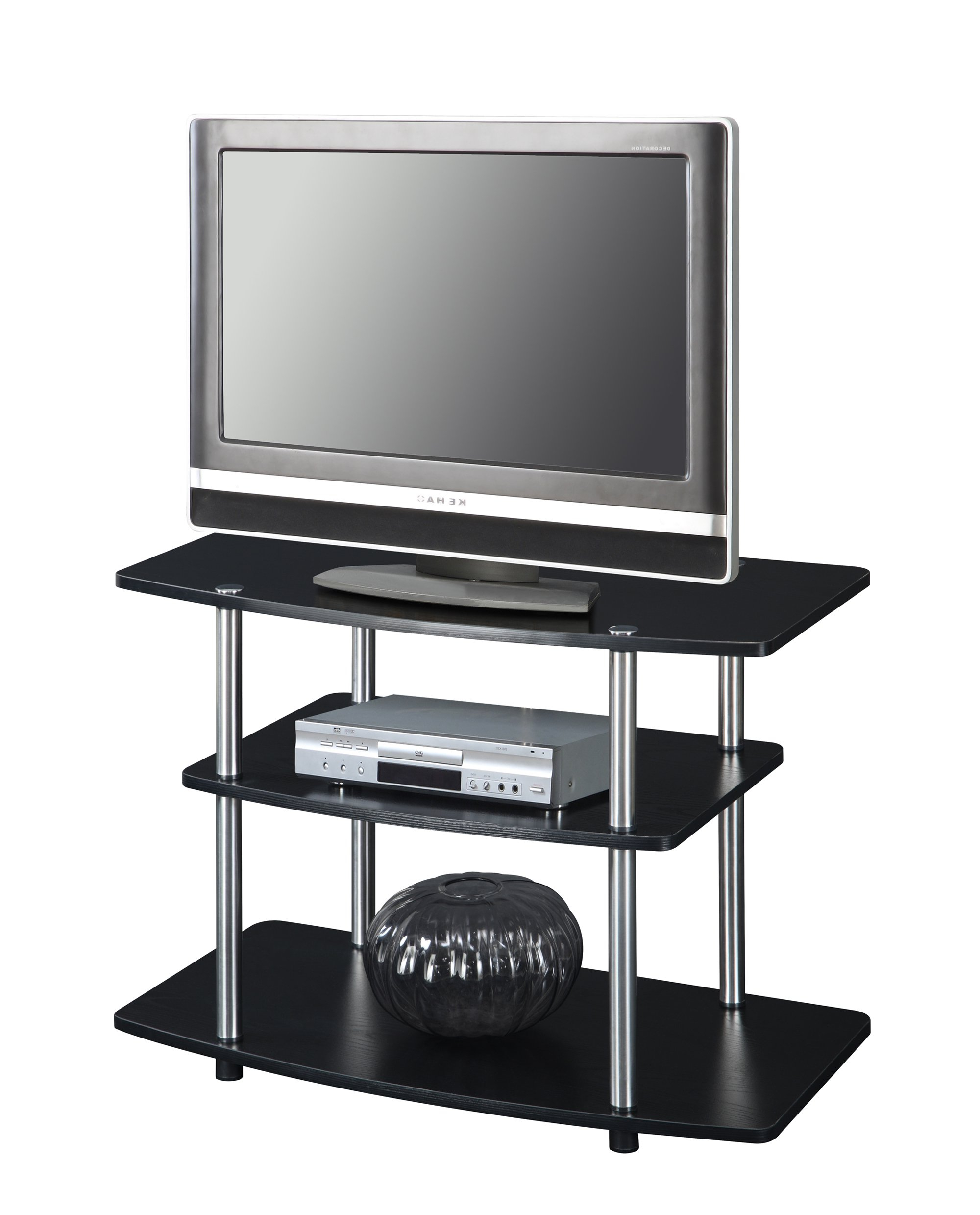 Well Known 3 Tier Stand Panel Tall Tv Stands For Flat Screens Screen Wood Black In 32 Inch Tv Stands (View 19 of 20)