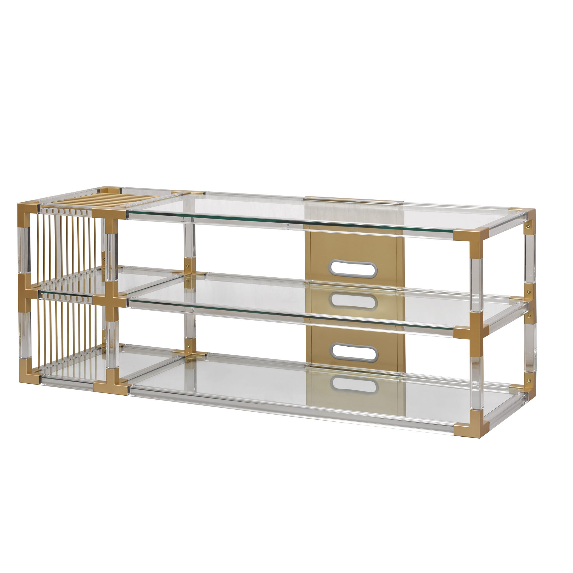 Well Known Acrylic Tv Stands Inside Cheap White Tv Stand Acrylic Console Tray Stands With Soundbar Space (View 18 of 20)