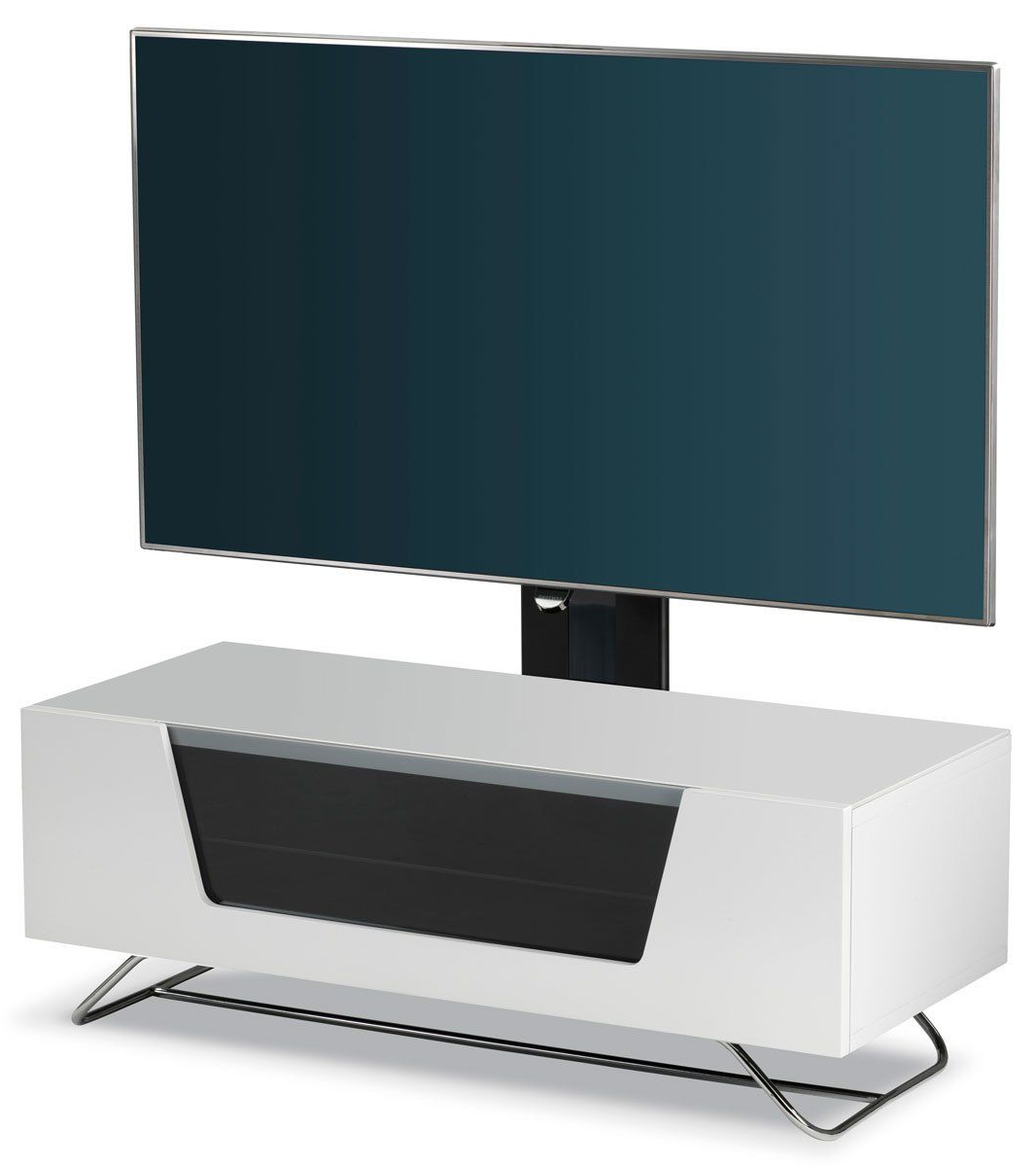 Well Known Alphason Chromium White Cantilever Tv Stand: Amazon.co (View 7 of 20)
