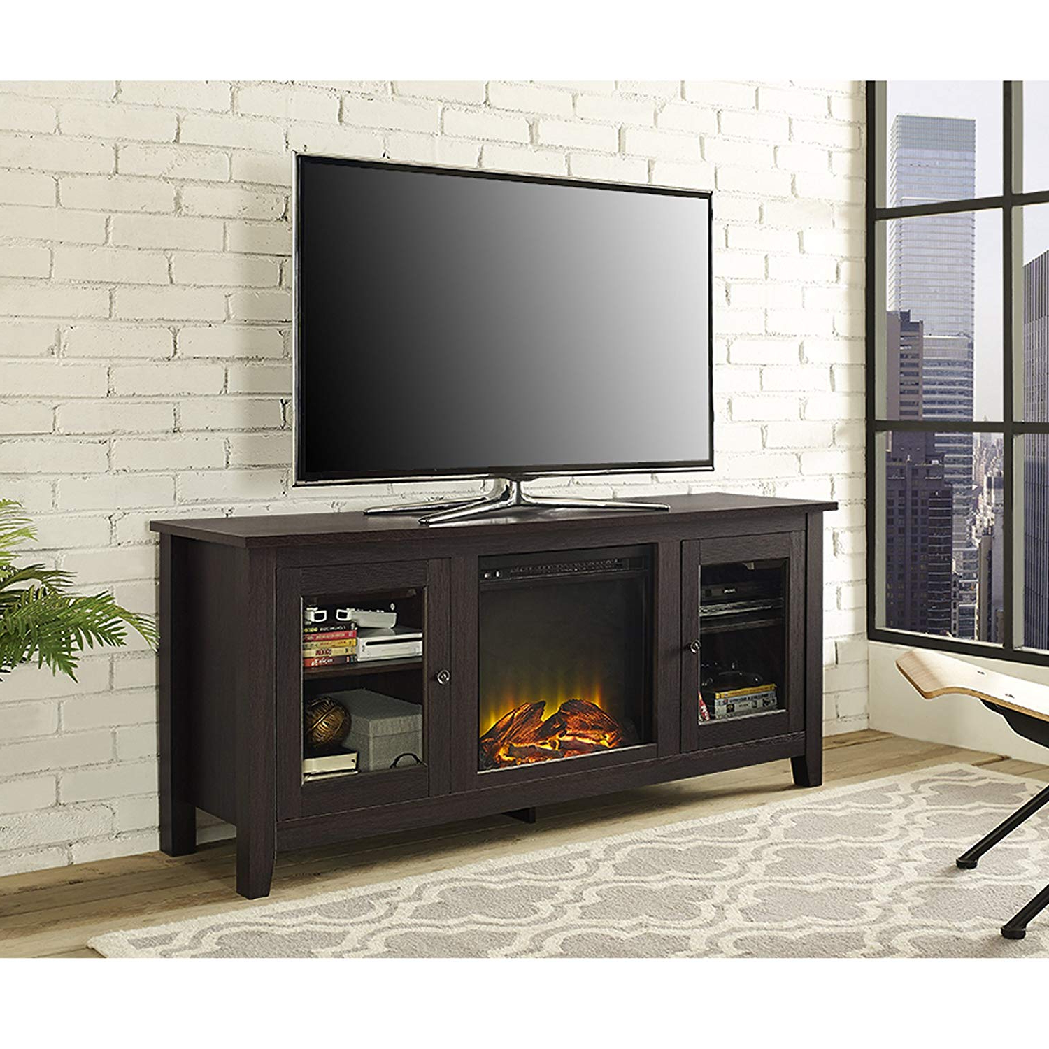 "Well Known Amazon: We Furniture 58"" Wood Fireplace Tv Stand Console Regarding Kilian Grey 60 Inch Tv Stands (View 19 of 20)"