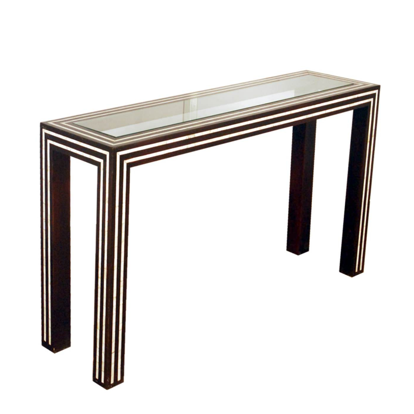 Well Known Black And White Inlay Console Tables Intended For Black And White Pearl Inlay Console: Glass And Inlay Console Table (View 17 of 20)