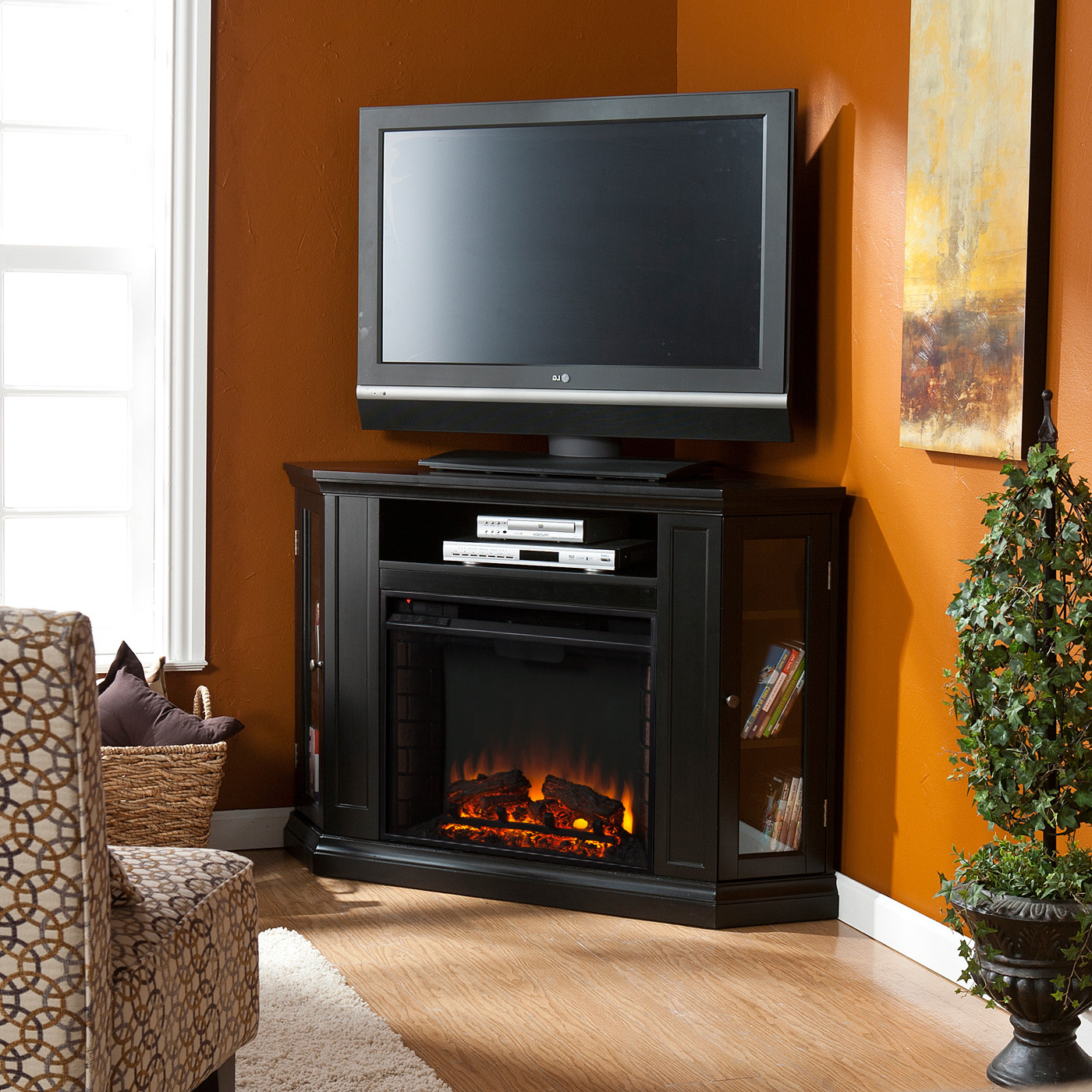 Well Known Black Corner Tv Cabinets With Glass Doors With Appealing Electric Fireplace And Real Flame Fresno Entertainment (View 17 of 20)