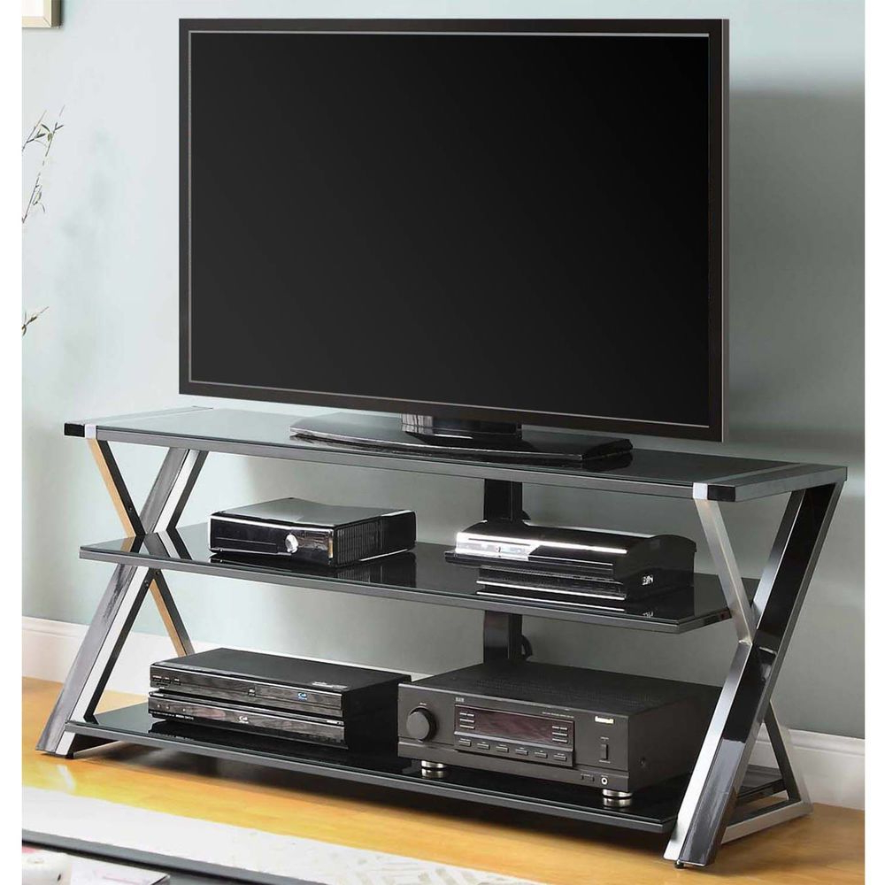 Well Known Black Glass Tv Stand 65 Inch Flat Screen Entertainment Center With Regard To Unique Tv Stands For Flat Screens (View 14 of 20)